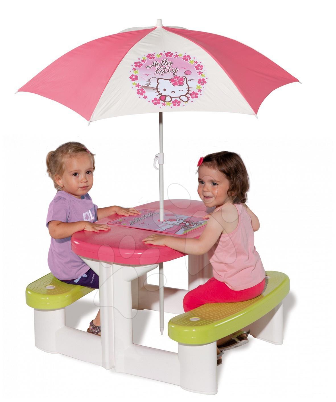 Detský záhradný nábytok - Piknikový stôl Hello Kitty Smoby so slnečníkom a odkladacím priestorom, ružovo-zelený od 24 mes