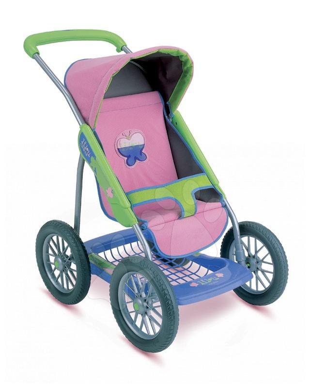 Lilou kočárek Active sportovní Smoby s motýlem, gumová kola, výška rukojeti 69 cm