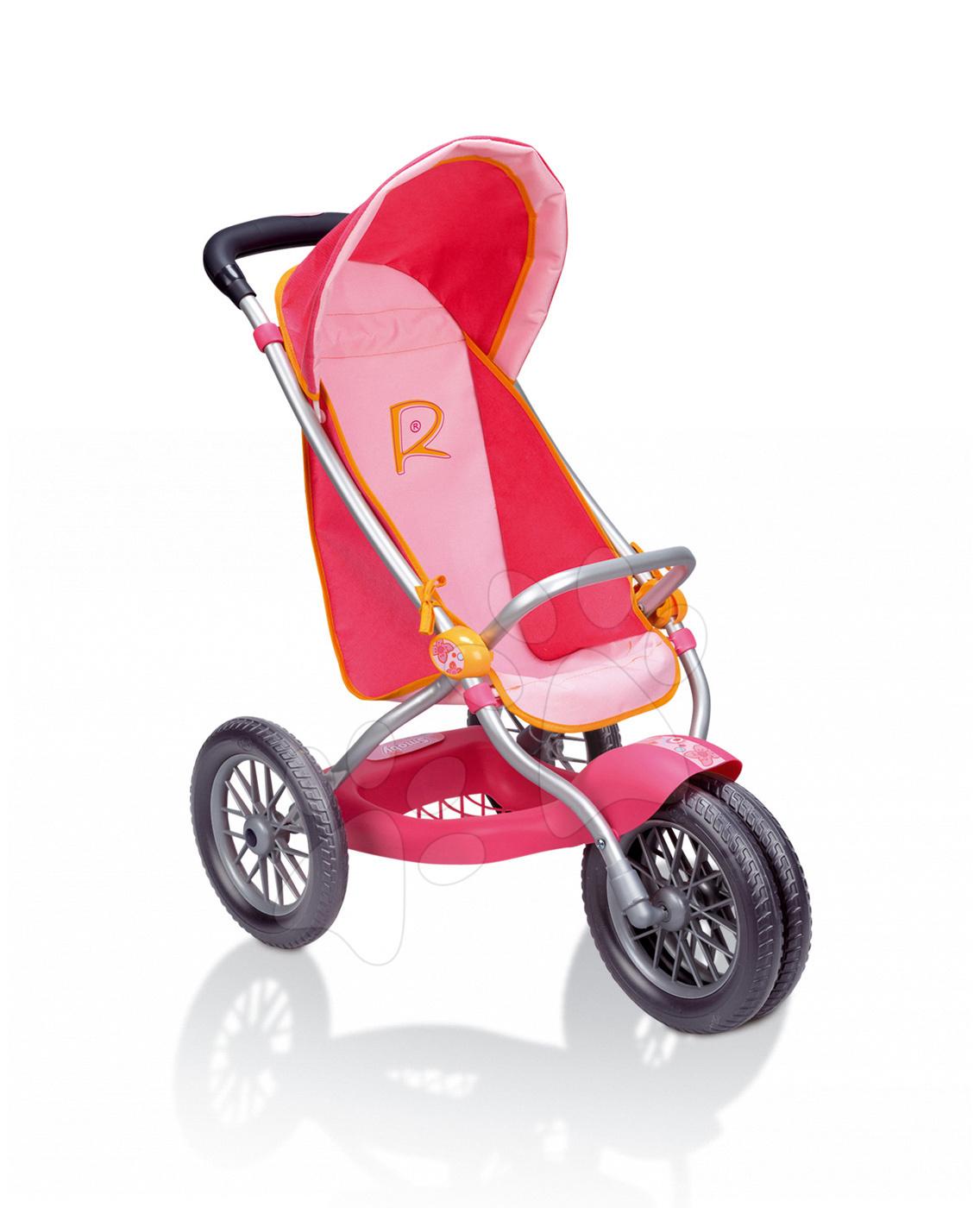 Kočíky pre bábiku - Kočík pre bábiku R Boxer Roxanne Smoby (70 cm rúčka) ružovo-oranžový