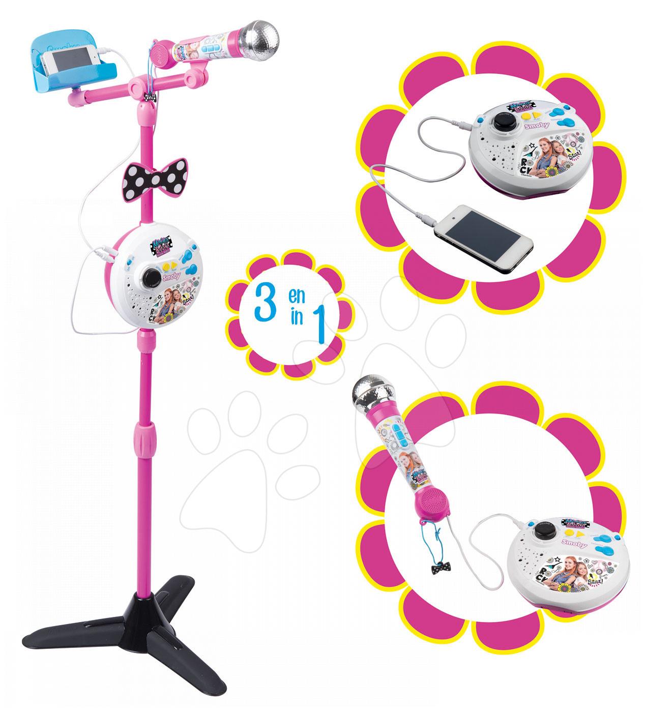 Karaoke stojaci mikrofón Maggie&Bianca Smoby so zvukmi a svetlom a napojením na mobil ružový od 5 rokov