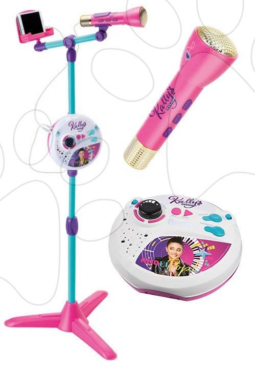 Mikrofon se stojanem Kally's Mashup Smoby 3v1 kompatibilní s audio přehrávači karaoke a různé zvukové a světelné efekty od 5 let