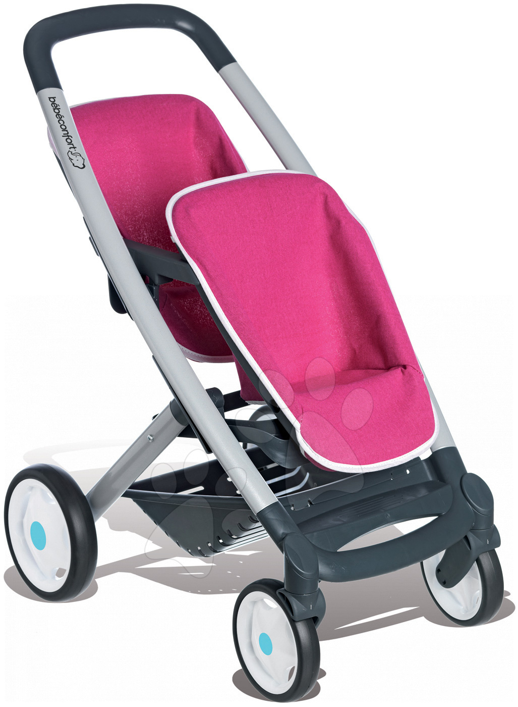 Smoby detský kočík Maxi Cosi & Quinny Twin pre dvojičky 521590 ružovo-šedý