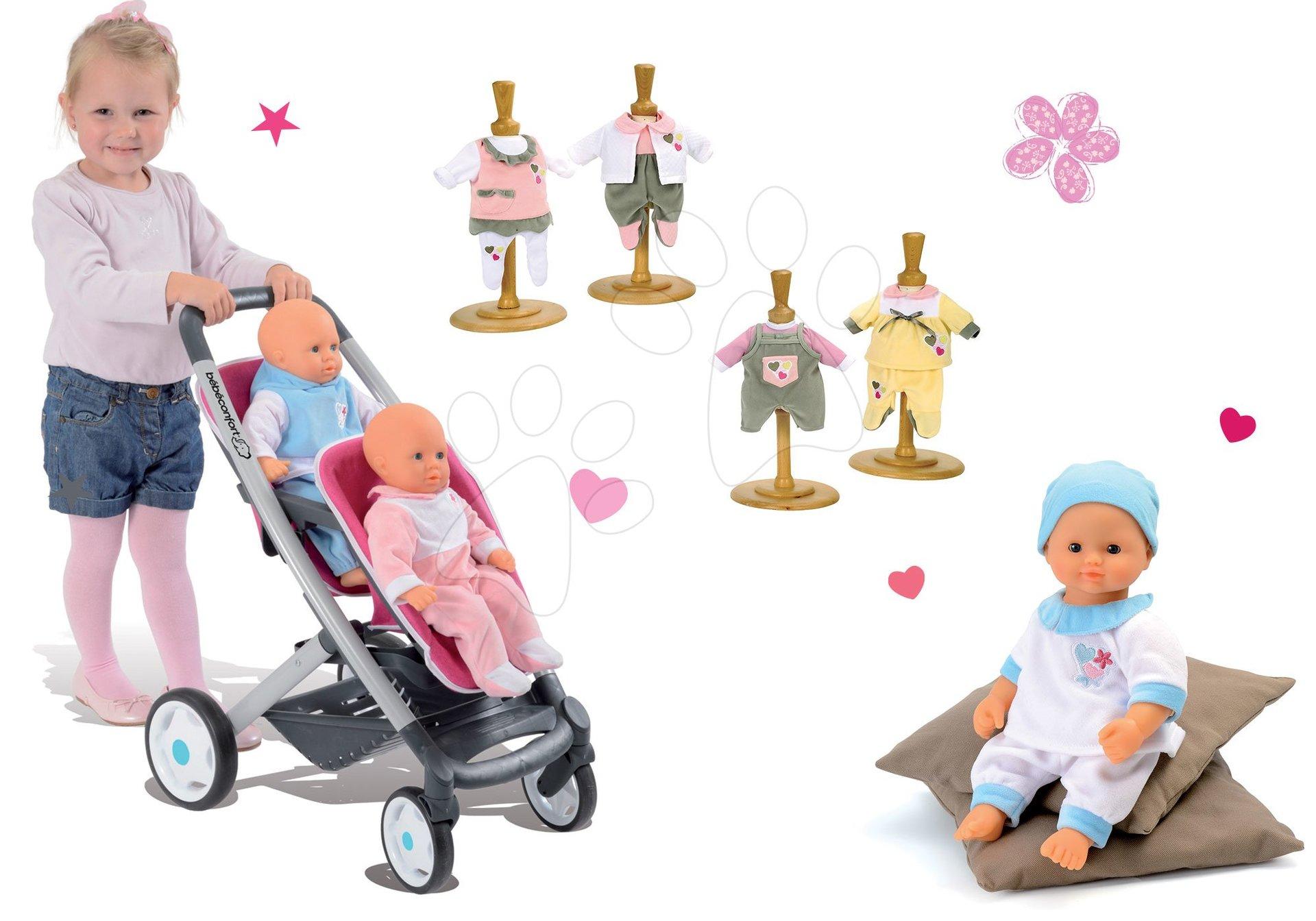 Smoby kočiarik pre bábiku Maxi Cosi & Quinny Twin a bábika so šatami Baby Nurse 521590-1