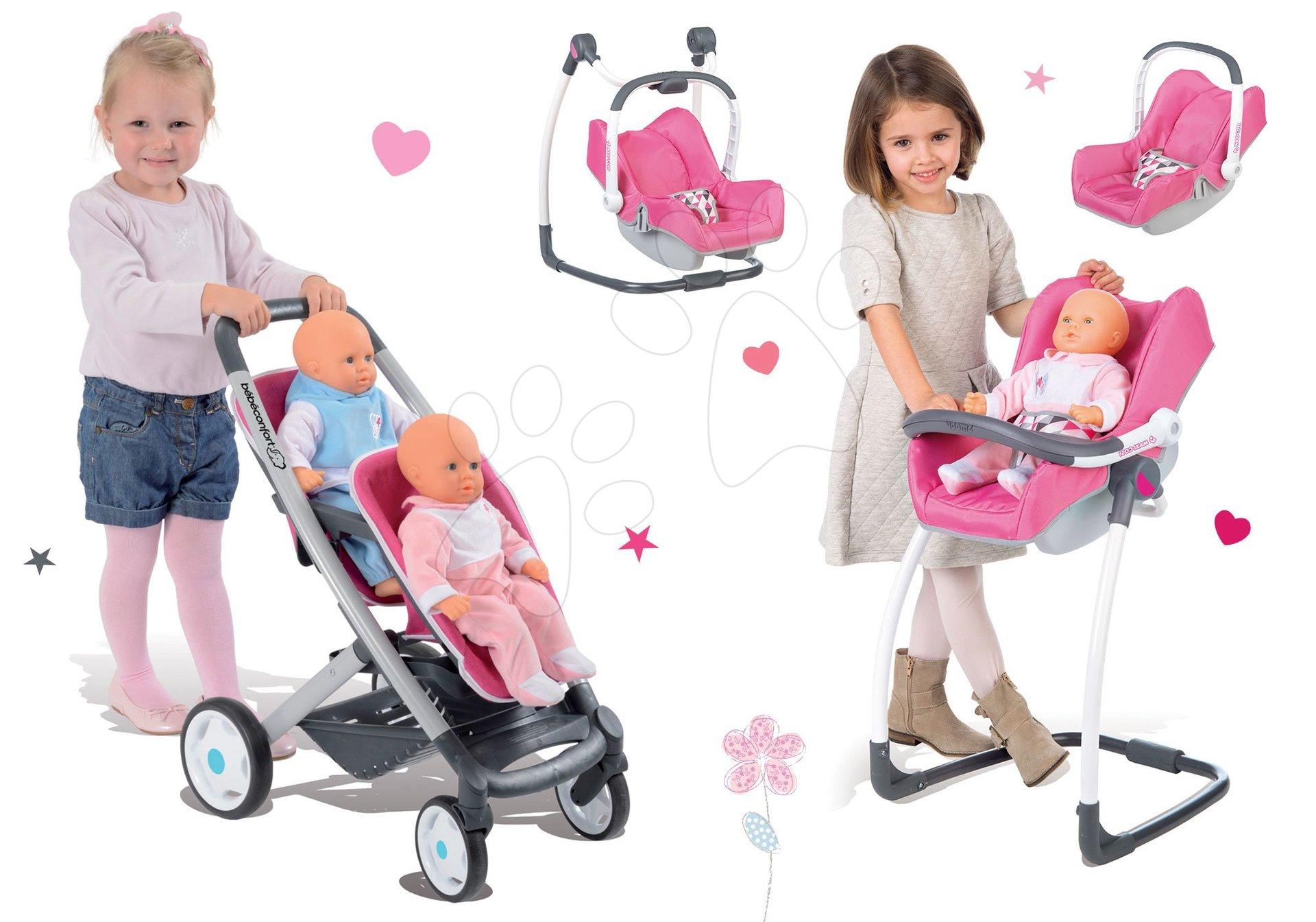 Smoby detský kočík Maxi Cosi & Quinny pre 2 bábiky a autosedačka 3v1 521590-2