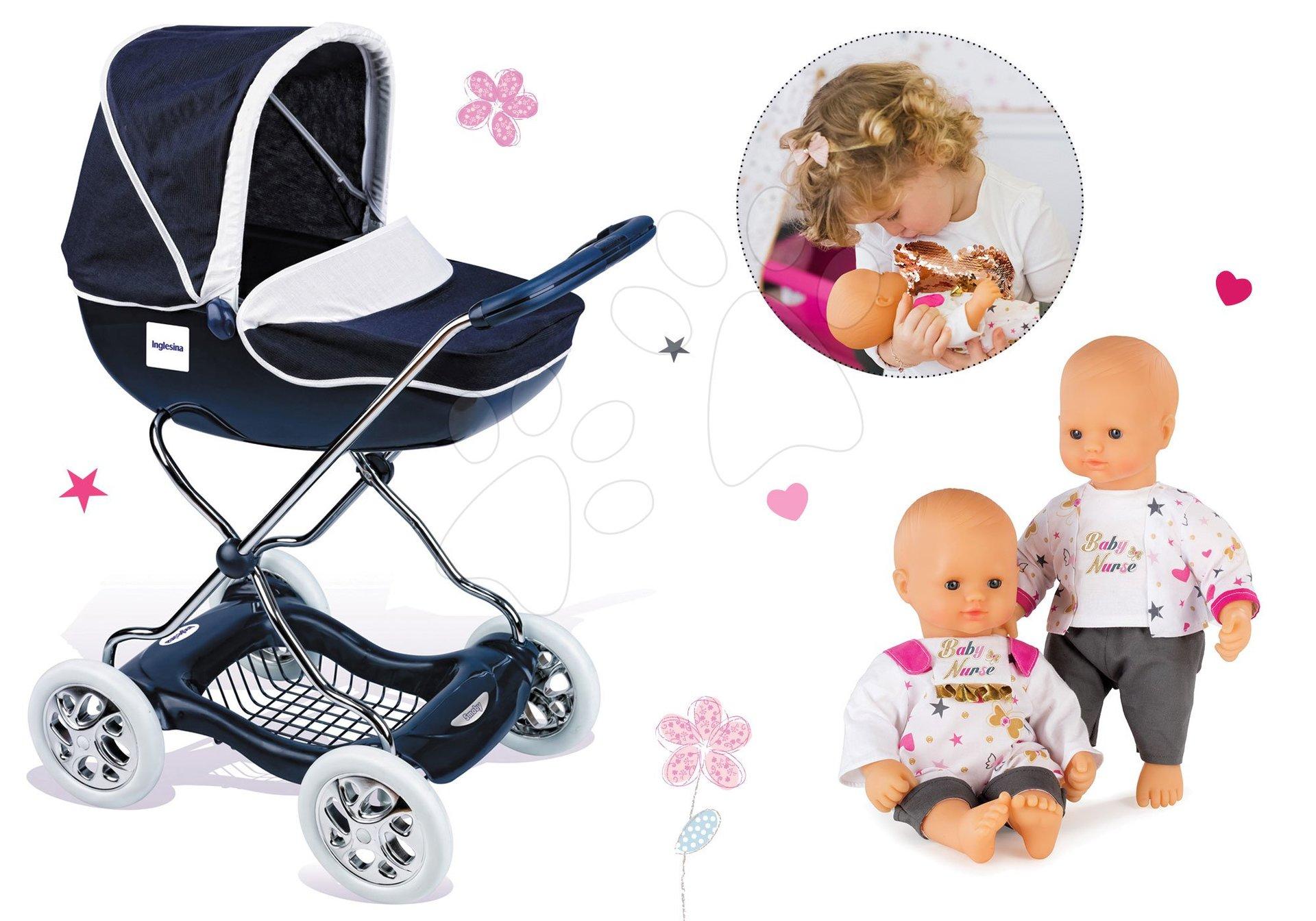 Smoby set hlboký kočík pre bábiky Shara a bábika Baby Nurse 32 cm 521981-1