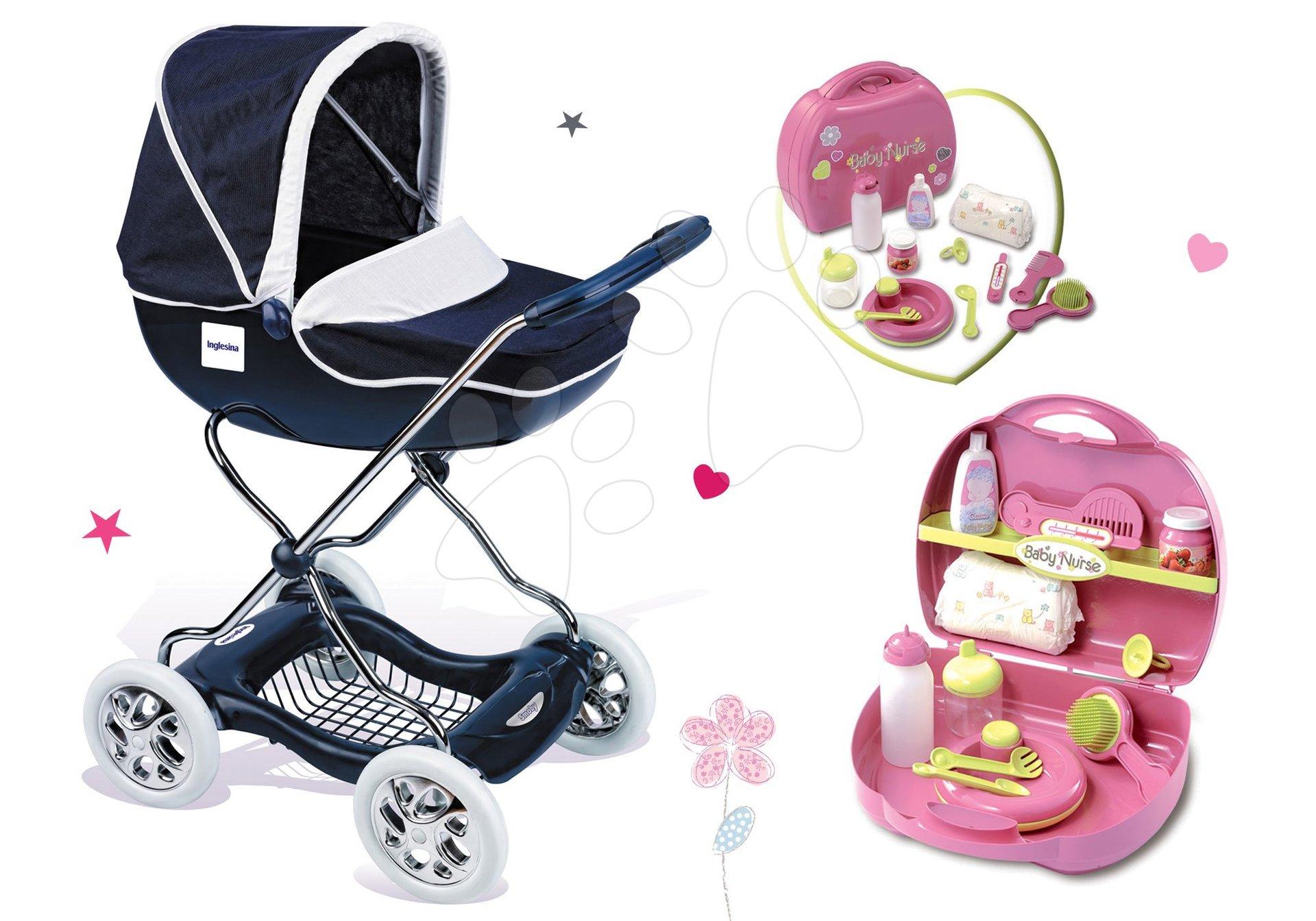Smoby set hlboký kočík pre bábiky Shara a prebaľovací set v kufríku Baby Nurse 521981-3