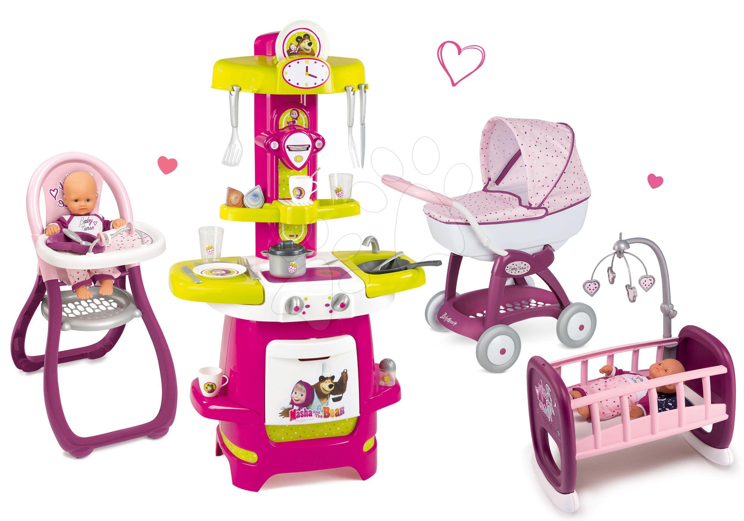 Smoby kočiarik Máša a medveď, stolička a kolíska pre bábiku a kuchynka Máša 523134-2