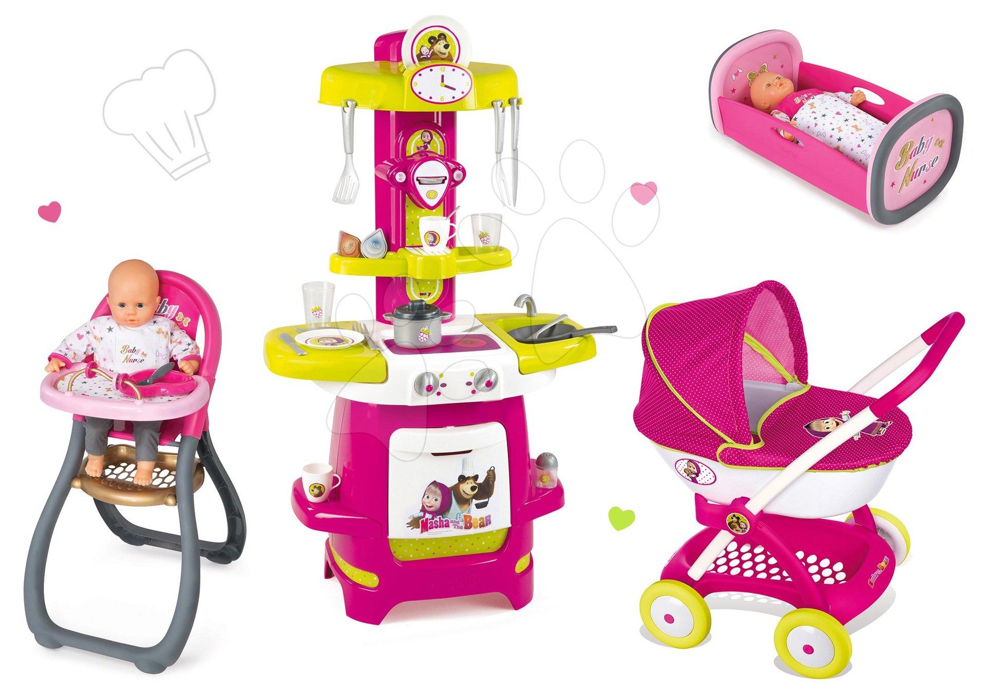 Komplet voziček Maša in medved Smoby za dojenčka globok (55 cm ročaj), kuhinja Maša, stolček za hranjenje in zibka za dojenčka od 18 mes