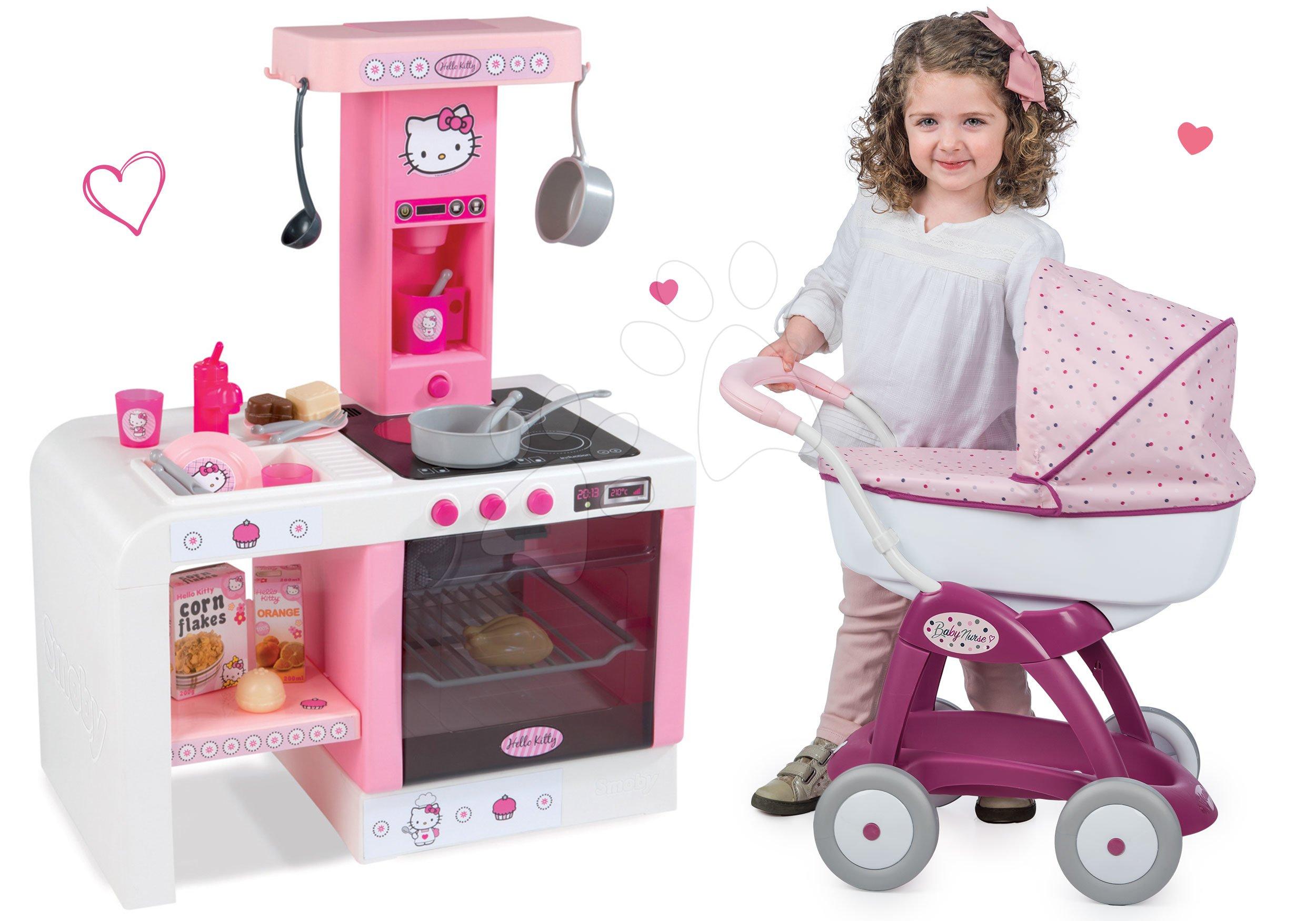 Komplet voziček za dojenčka Maša in medved Smoby in kuhinja Hello Kitty Cheftronic z zvoki od 18 mes