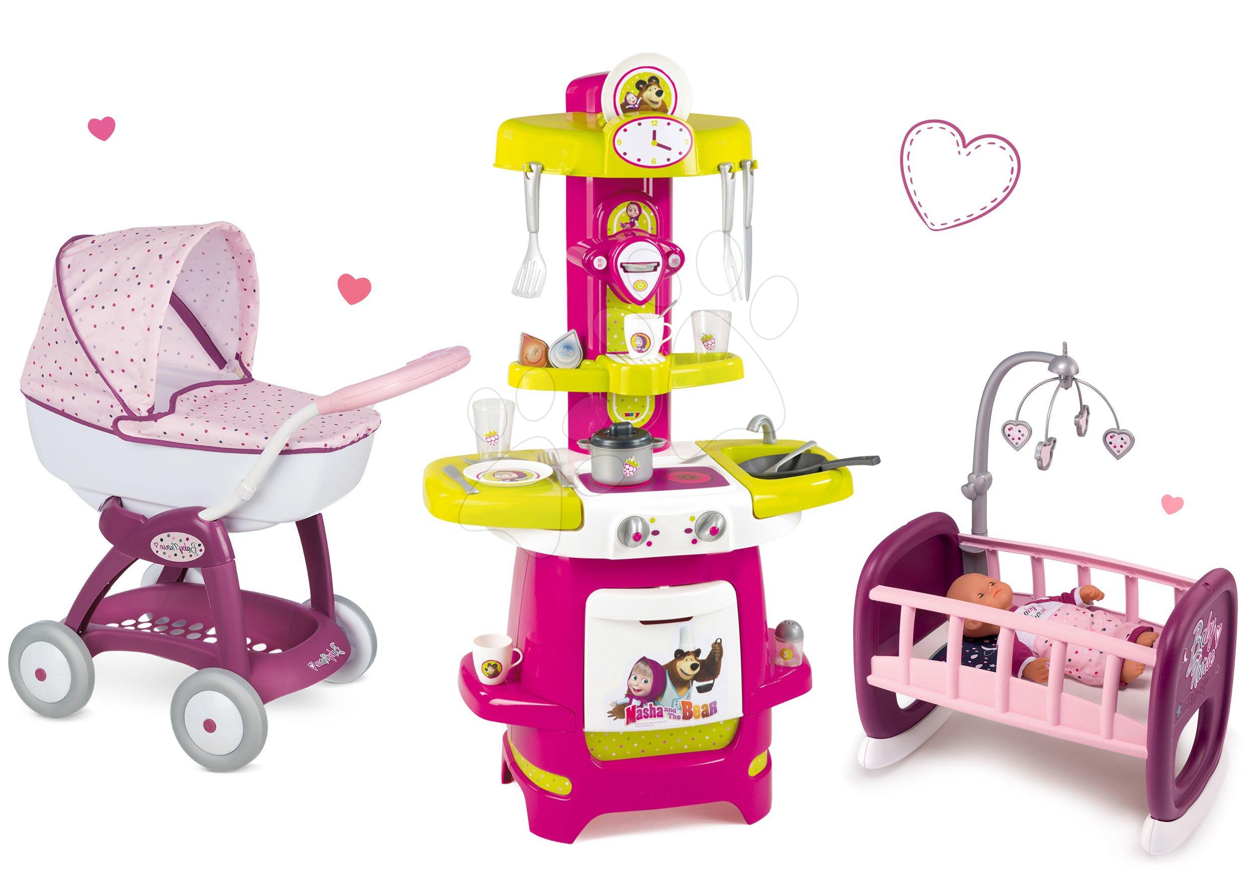 Set kočárek pro panenku Máša a medvěd Smoby a kuchyňka Máša a kolébka pro panenku od 18 měsíců