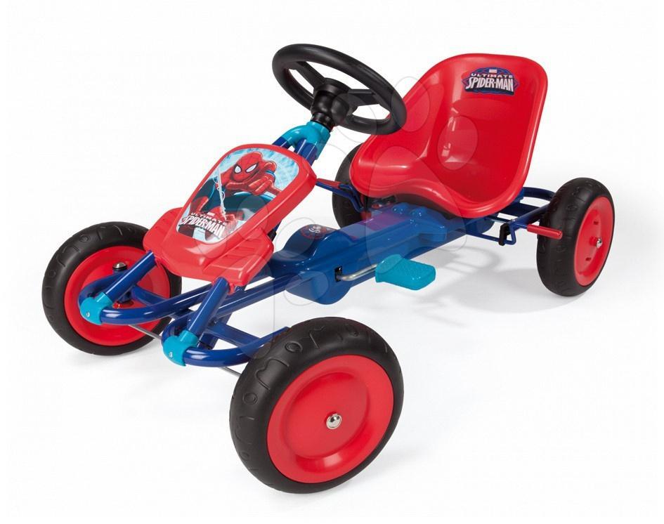 Čtyřkolka autíčko Go Kart Spiderman Smoby červeno-modrá