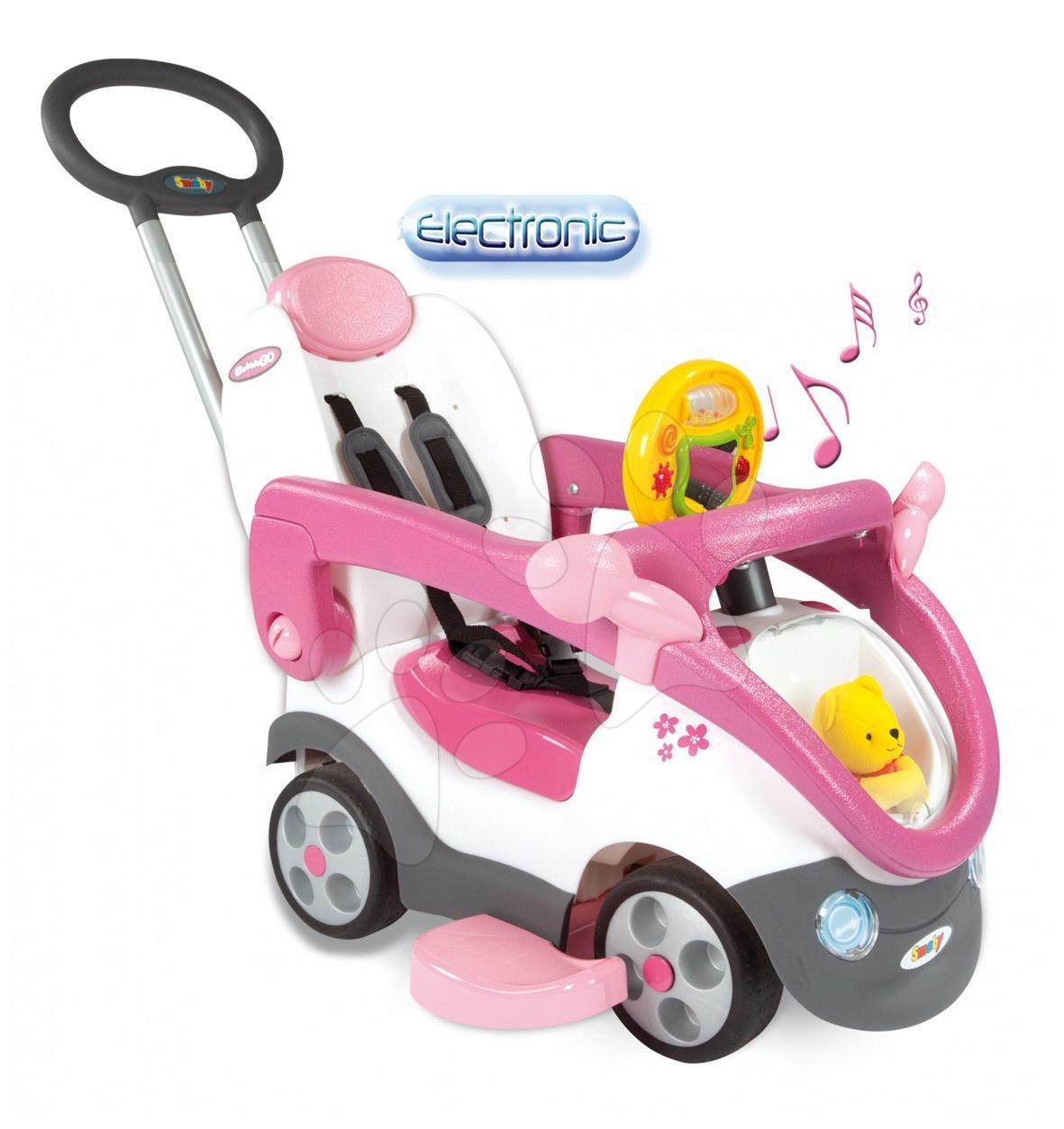 Bubble Go II Balade Girl autíčko Smoby bílo-růžové s tyčí od 6 měsíců