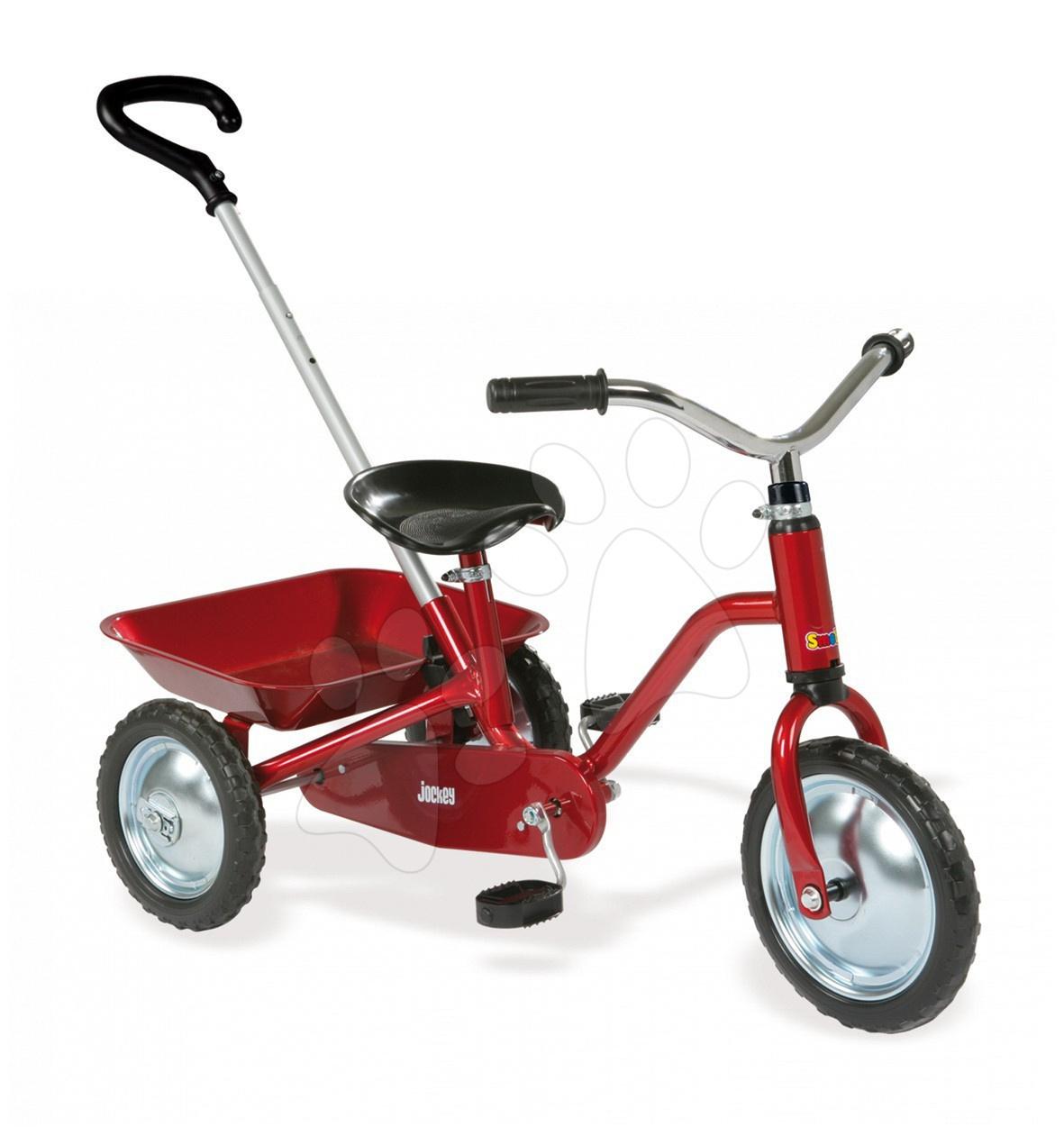 Tricicletă Jockey Classic Smoby roşie cu antrenare cu lanţ de la 24 luni