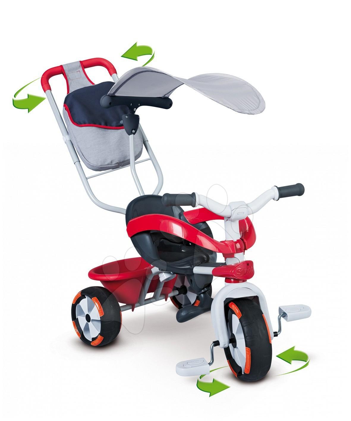 Tříkolka Baby Driver Confort SPORT Smoby červená, vodicí tyč od 10 měsíců