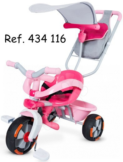Tříkolka Baby Driver Confort SPORT Girl Smoby růžová, vodicí tyč od 10 měsíců