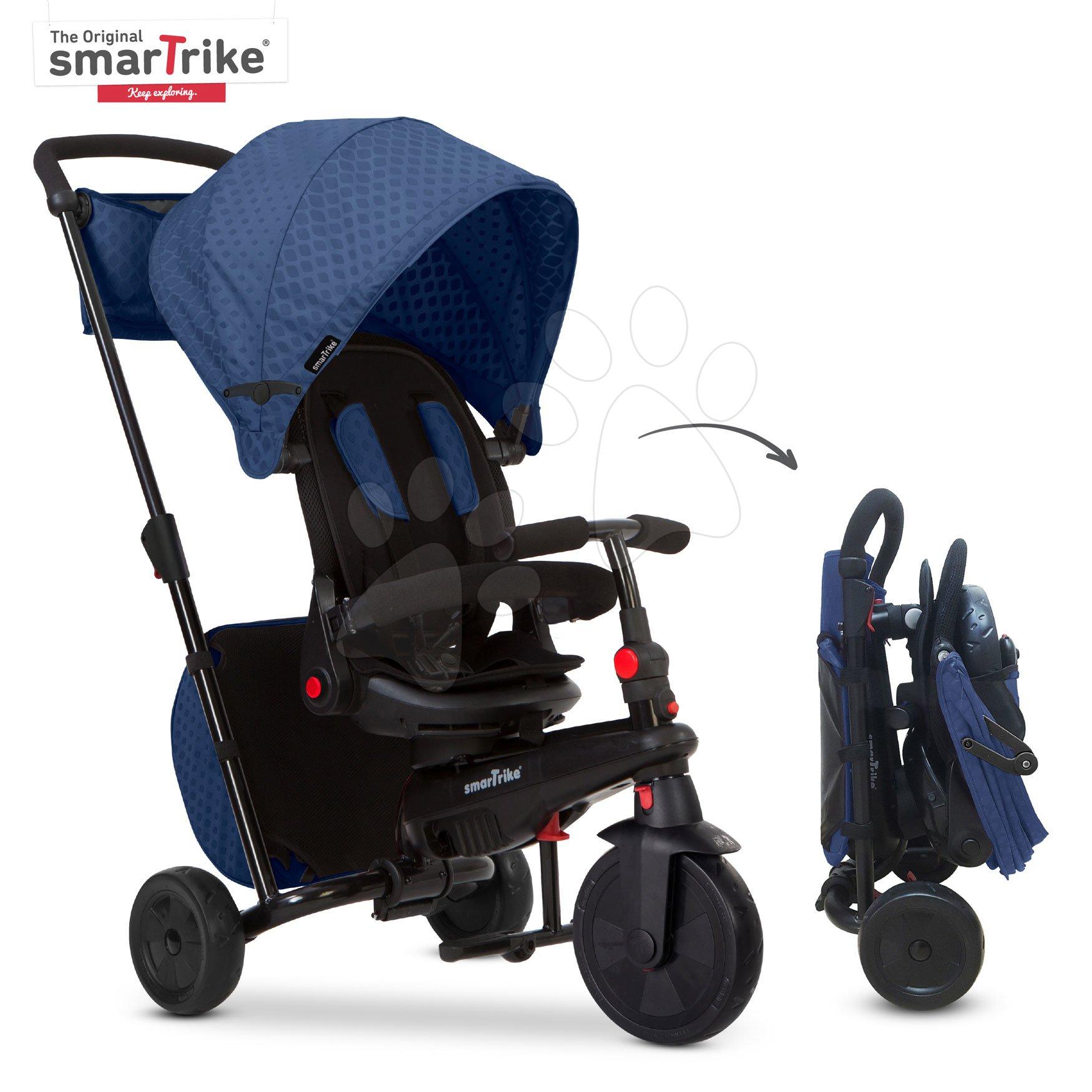 Trojkolka a kočík skladacia STR7 Urban 7v1 smarTrike modrá so sklápateľným sedadlom TouchSteering s EVA kolesami od 6 mes