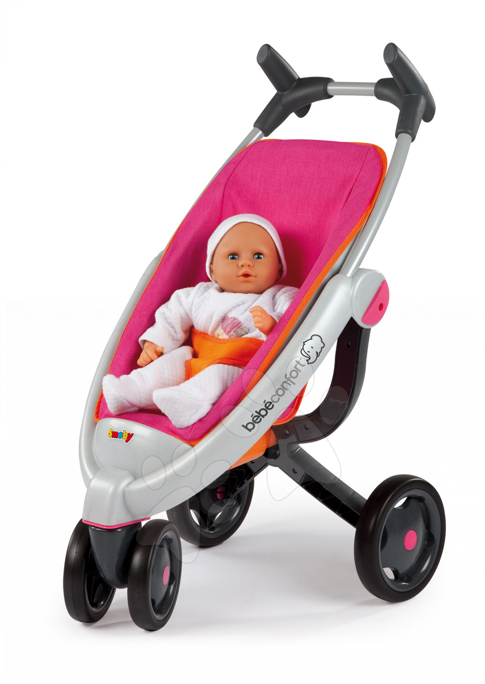 Cărucioare pentru păpuși  - Cărucior pentru păpuşă Maxi Cosi&Quinny Smoby sport buggy (70 cm mâner de împins) roz-portocaliu