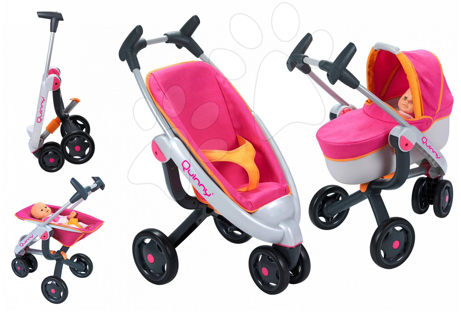 Voziček za dojenčka 3v1 Maxi Cosi & Quinny Smoby (70 cm ročaj) rožnato-oranžen