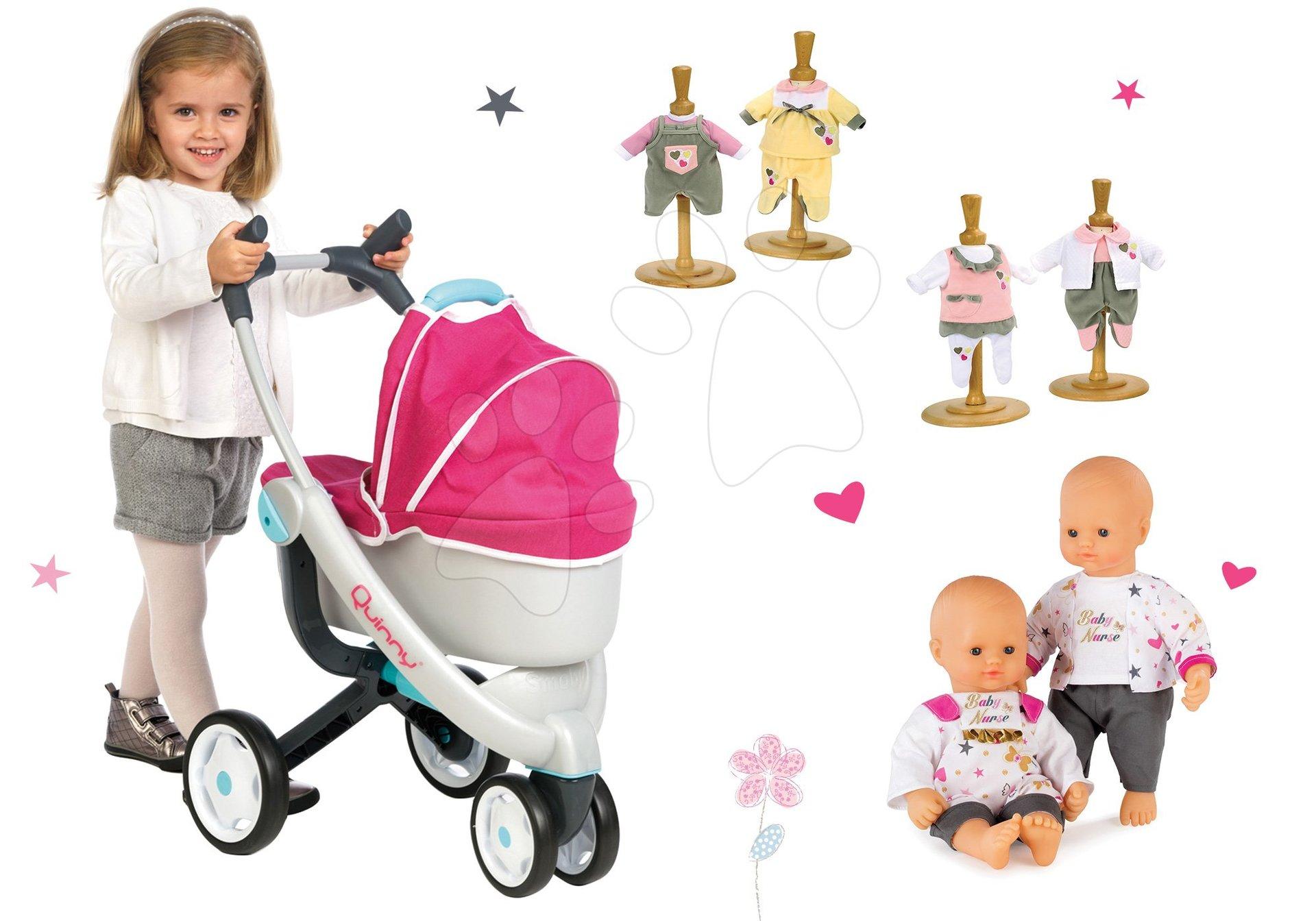 Set kočárek pro panenku Maxi Cosi & Quinny 3v1 Smoby a panenka se šatičkami 32 cm