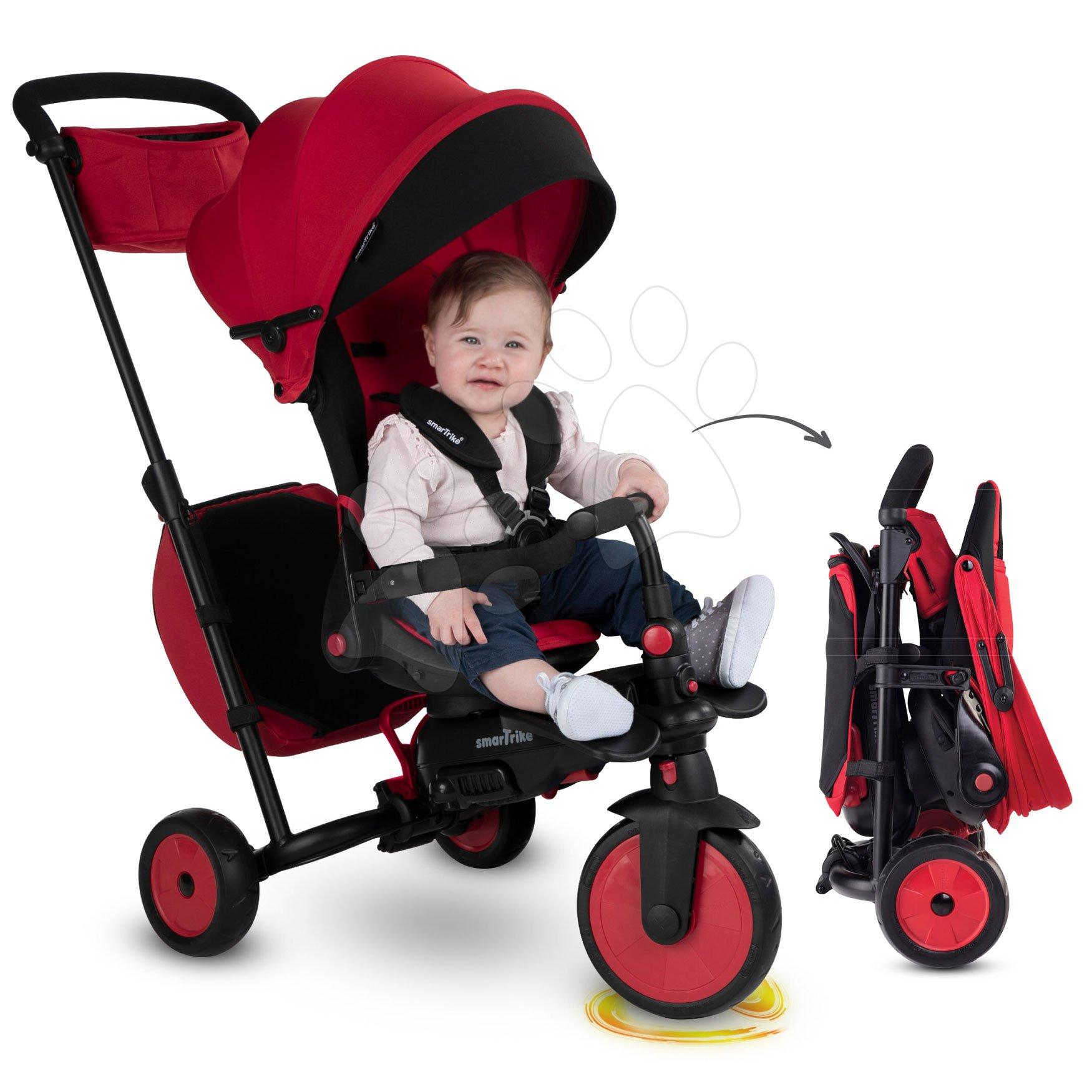 Tricikel in voziček zložljiv STR7 Urban 8v1 smarTrike rdeč z vrtljivim in zložljivim sedežem TouchSteering s EVA kolesi od 6 mes
