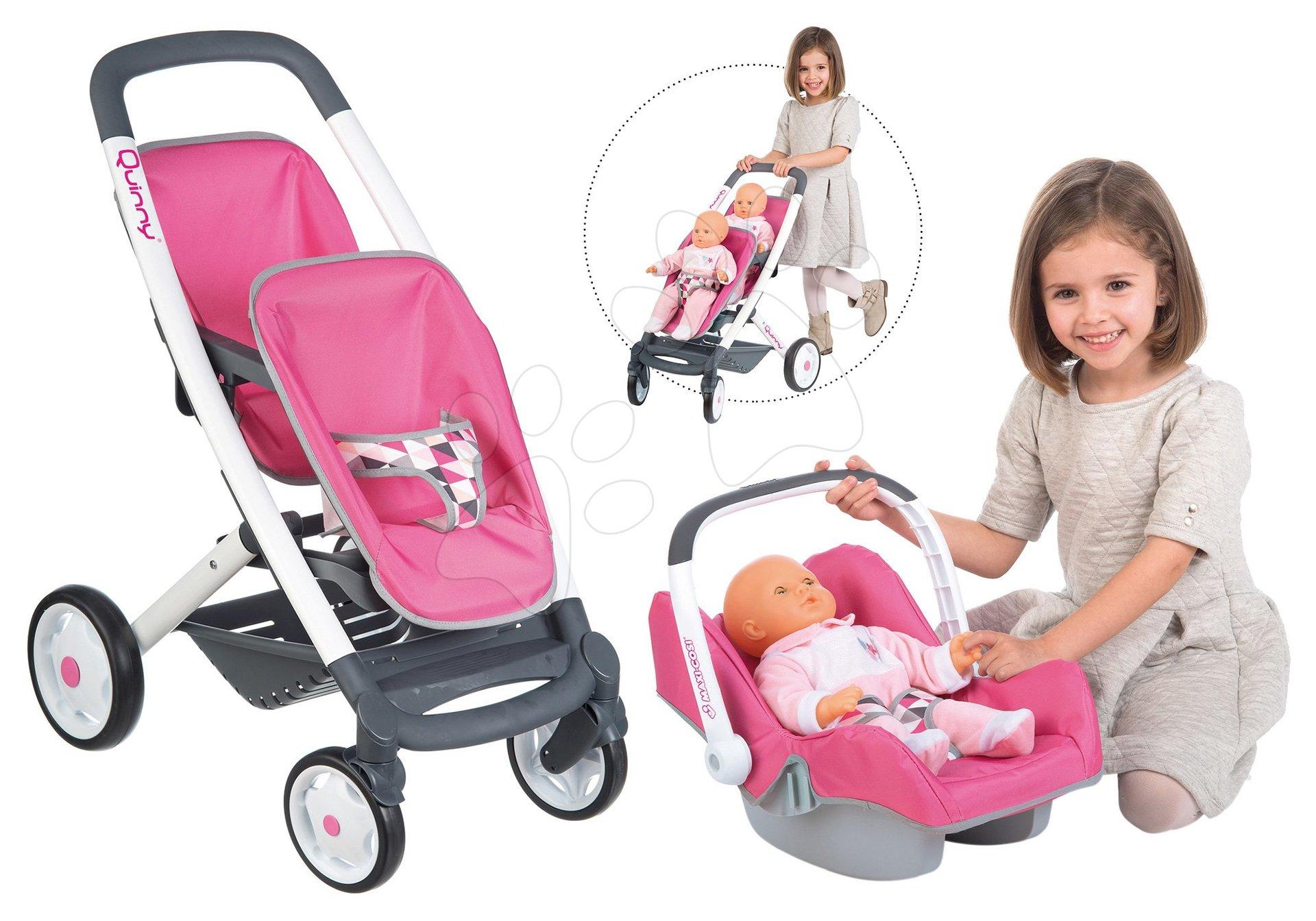 Smoby kočík pre dve bábiky Maxi Cosi & Quinny a autosedačka 253297-2