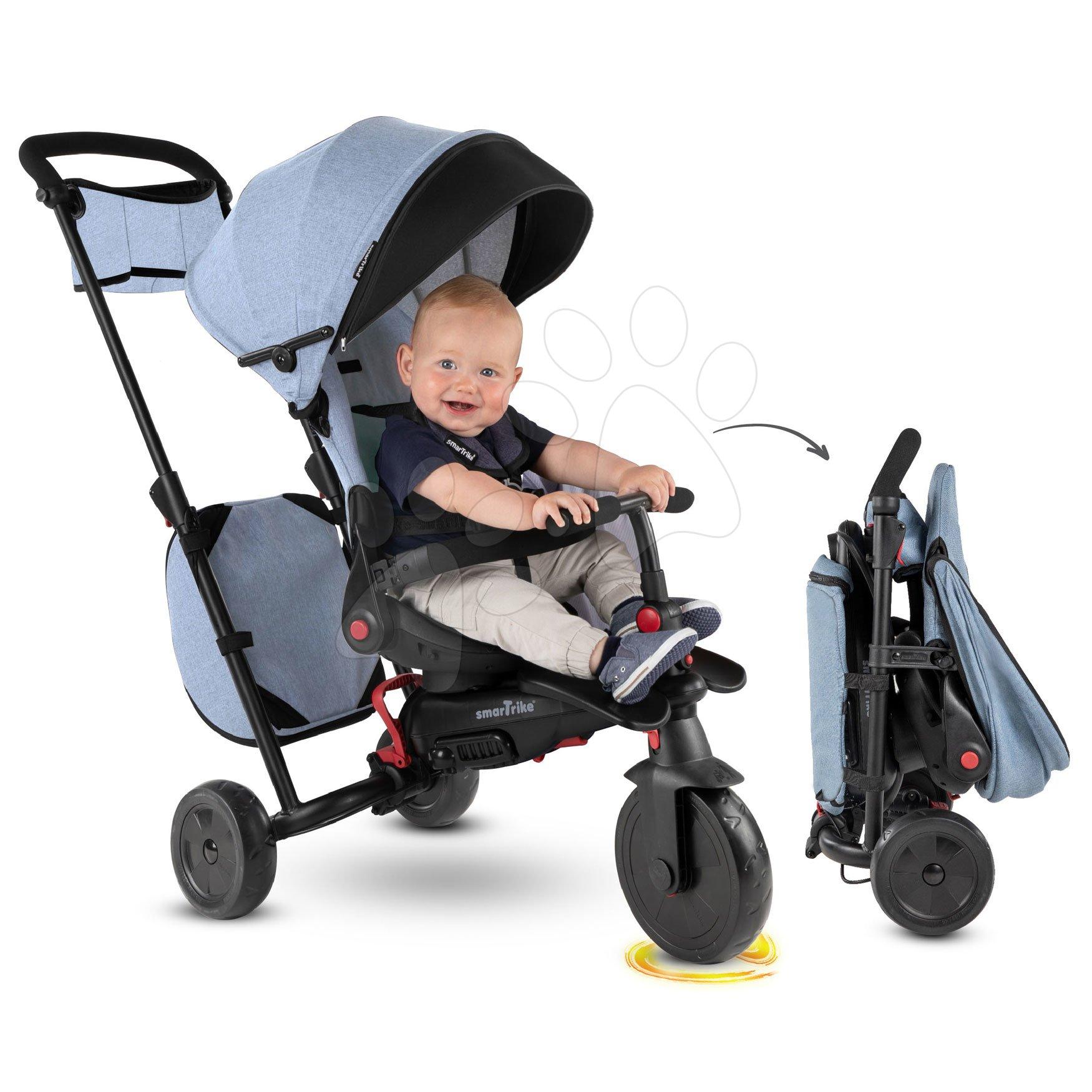 Trojkolka a kočík skladacia STR7 Urban 7v1 smarTrike Jeans so sklápateľným sedadlom TouchSteering s EVA kolesami od 6 mes
