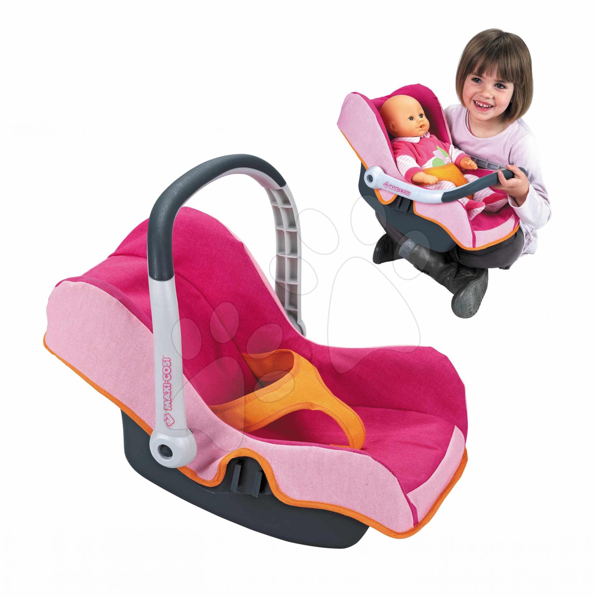 Staré položky - Autosedačka Maxi Cosi & Quinny pre bábiku Smoby ružovo-oranžová