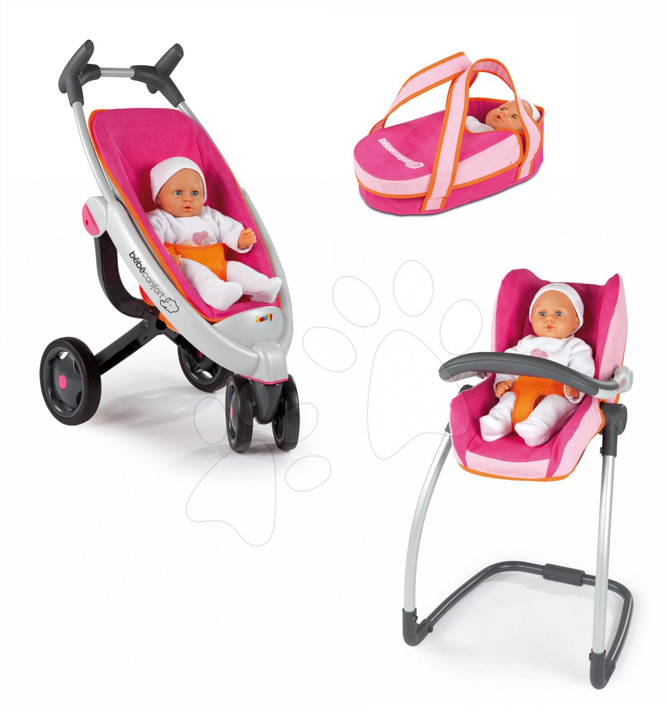 Babakocsi Maxi-Cosi & Quinny 5in1 Smoby (70 cm tolókar) rózsaszín-narancssárga