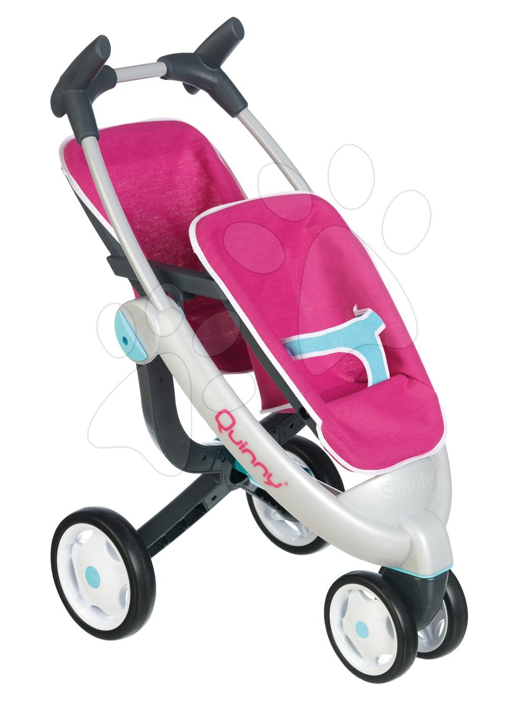 Smoby kočík pre dve bábiky Maxi Cosi & Quinny Twin obojstranný 551592 ružovo-modrý