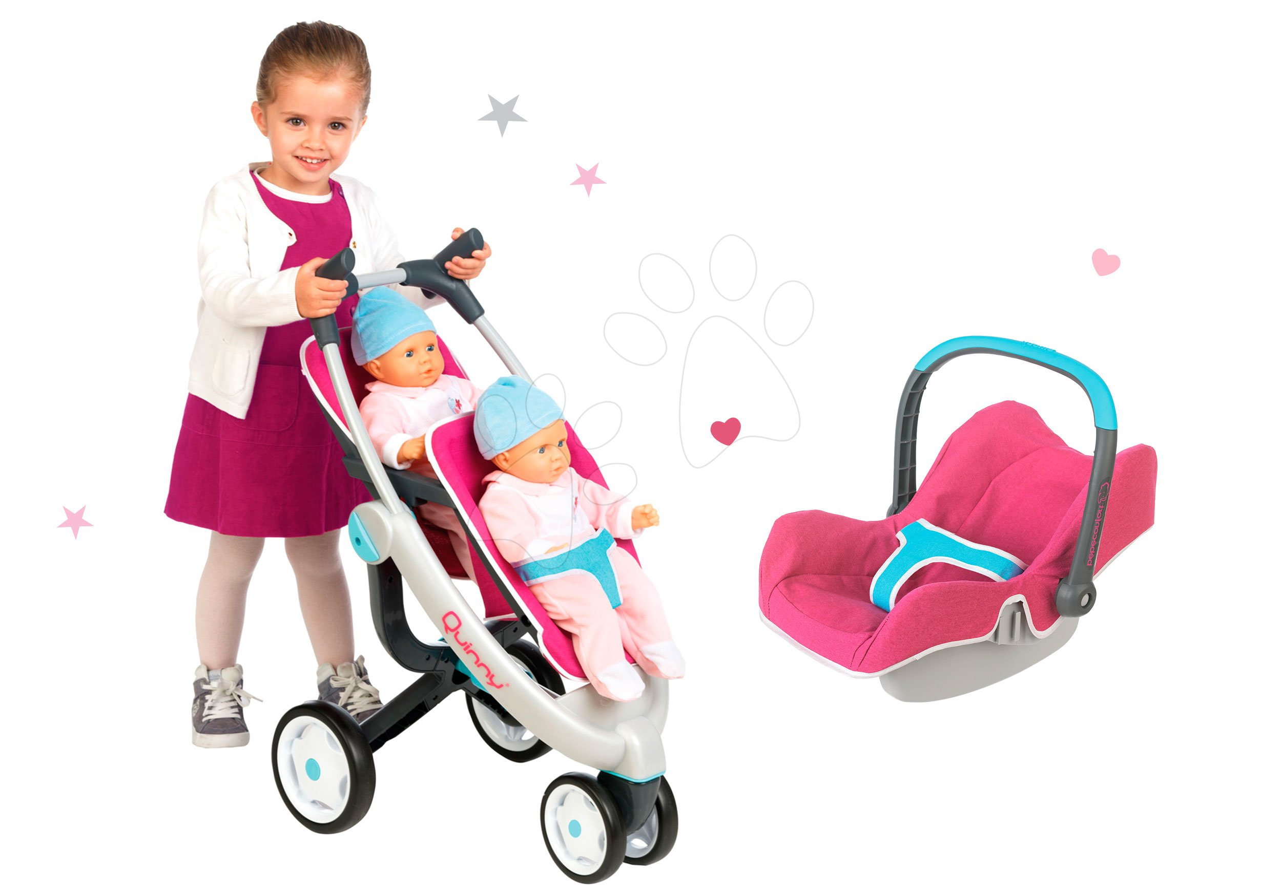 Smoby kočiarik pre dve bábiky Maxi Cosi & Quinny a autosedačka 551592-1