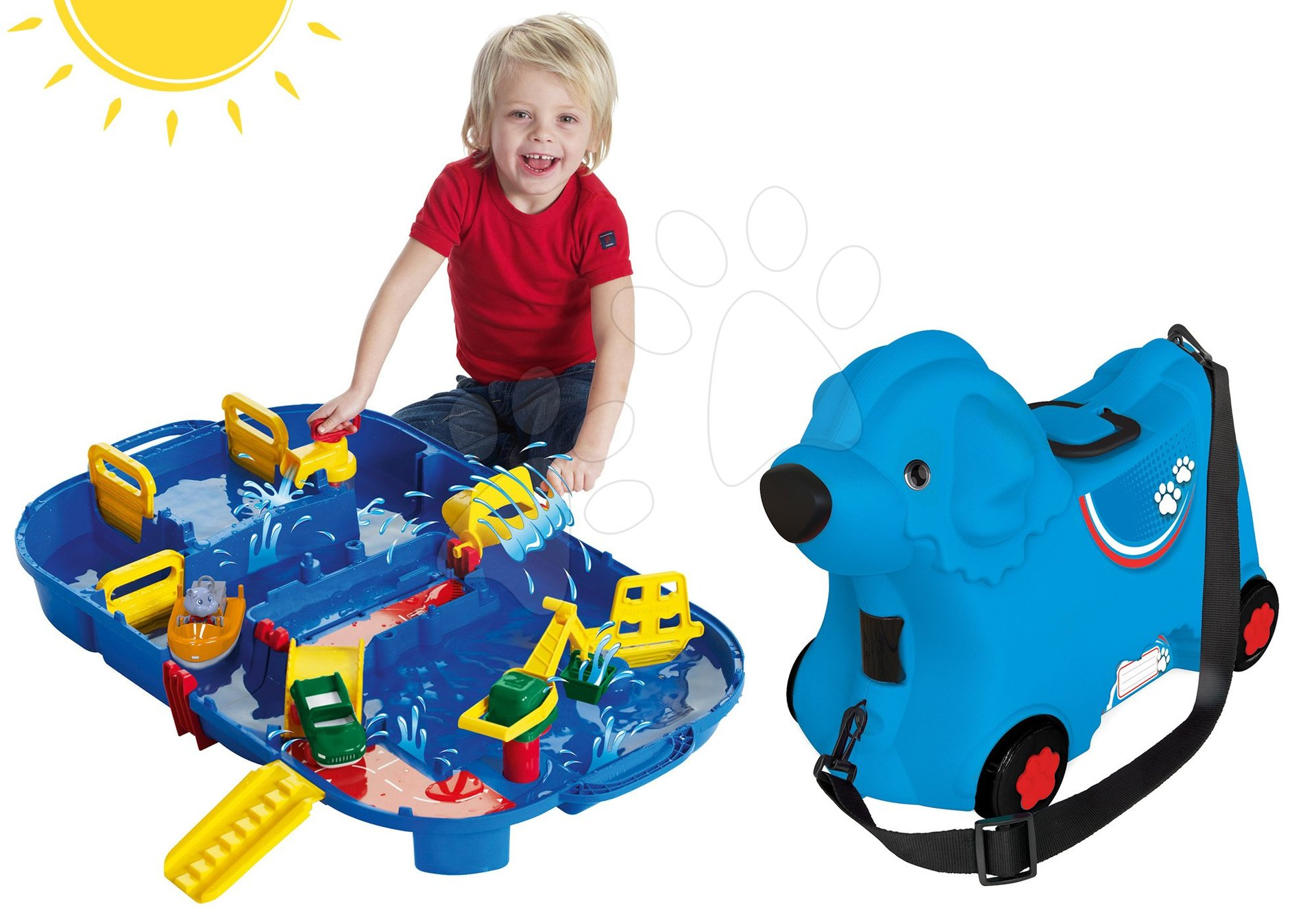 Set odrážedlo kufr na kolečkách Pes Bobby BIG modrý a vodní dráha Aquaplay LockBox v kufříku