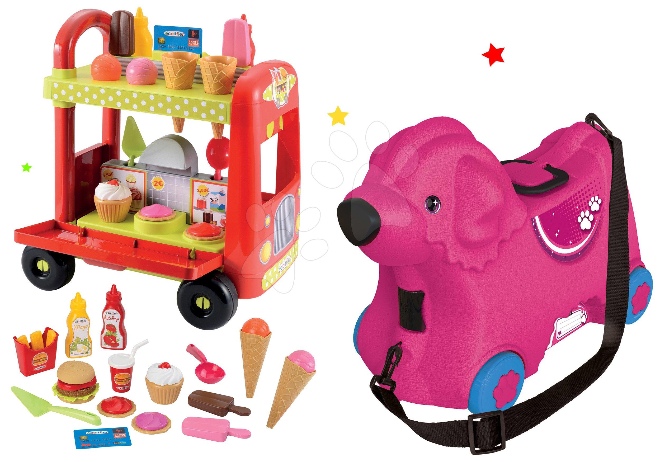 BIG set odrážadlo kufor na kolieskach Pes Bobby a vozík so zmrzlinou Délices s košíkom 55353-1