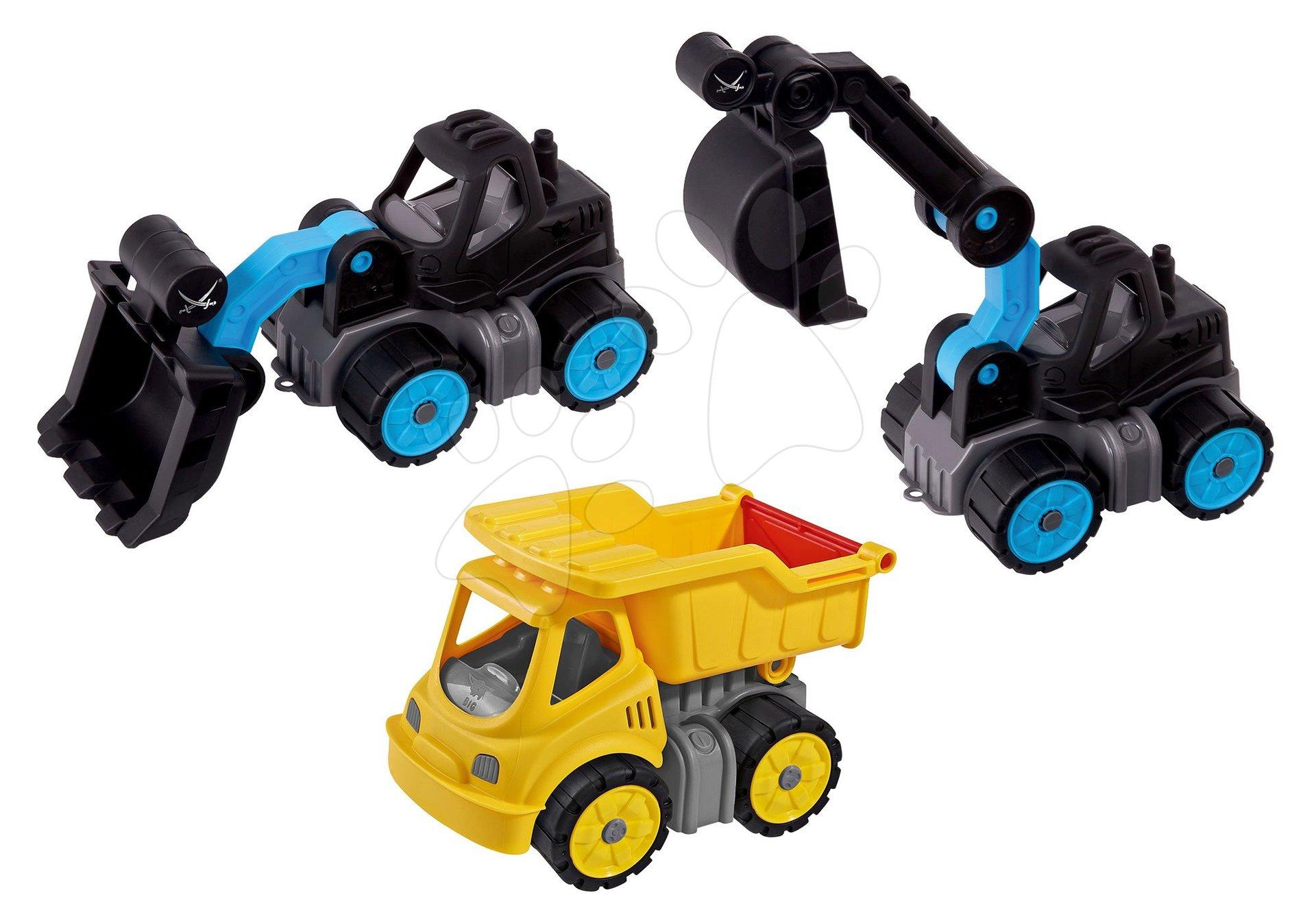 Set pracovných strojov Sansibar Big Power worker BIG 3 druhy s gumenými kolieskami od 24 mes