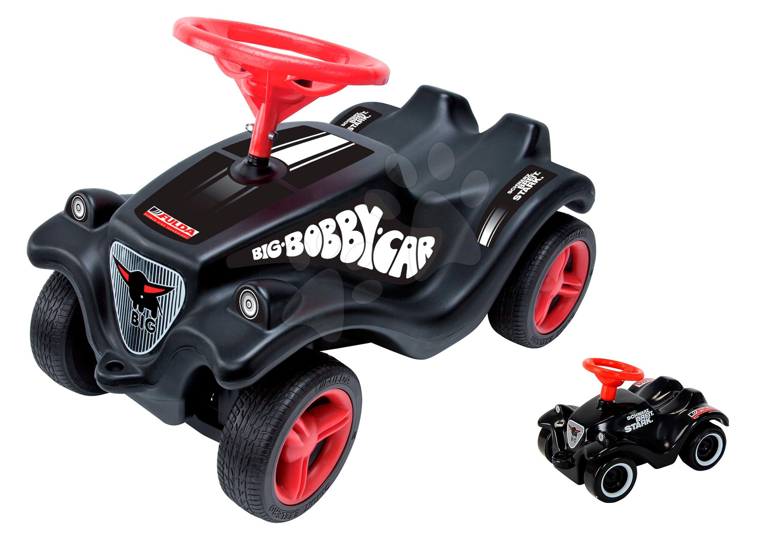 Odrážadlá sety - Set odrážadlo Fulda New Bobby BIG s ochrannou maskou čierne a autíčko Mini Bobby Classic na naťahovanie od 12 mes