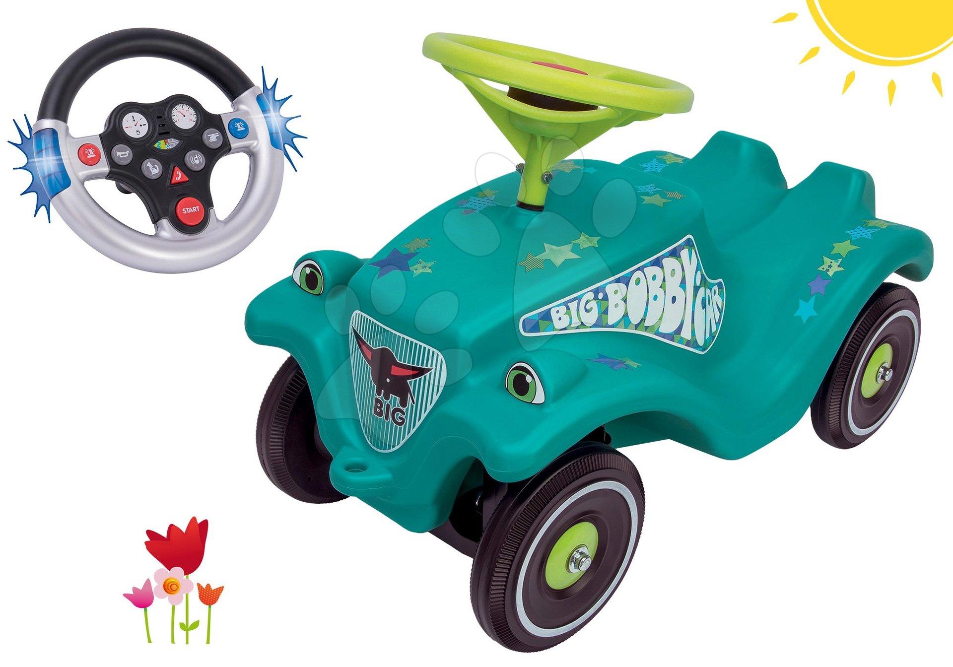 Set odrážadlo autíčko Little Star BIG Bobby Car Classic tyrkysové a interaktívny volant so zvukom a svetlom od 12 mes