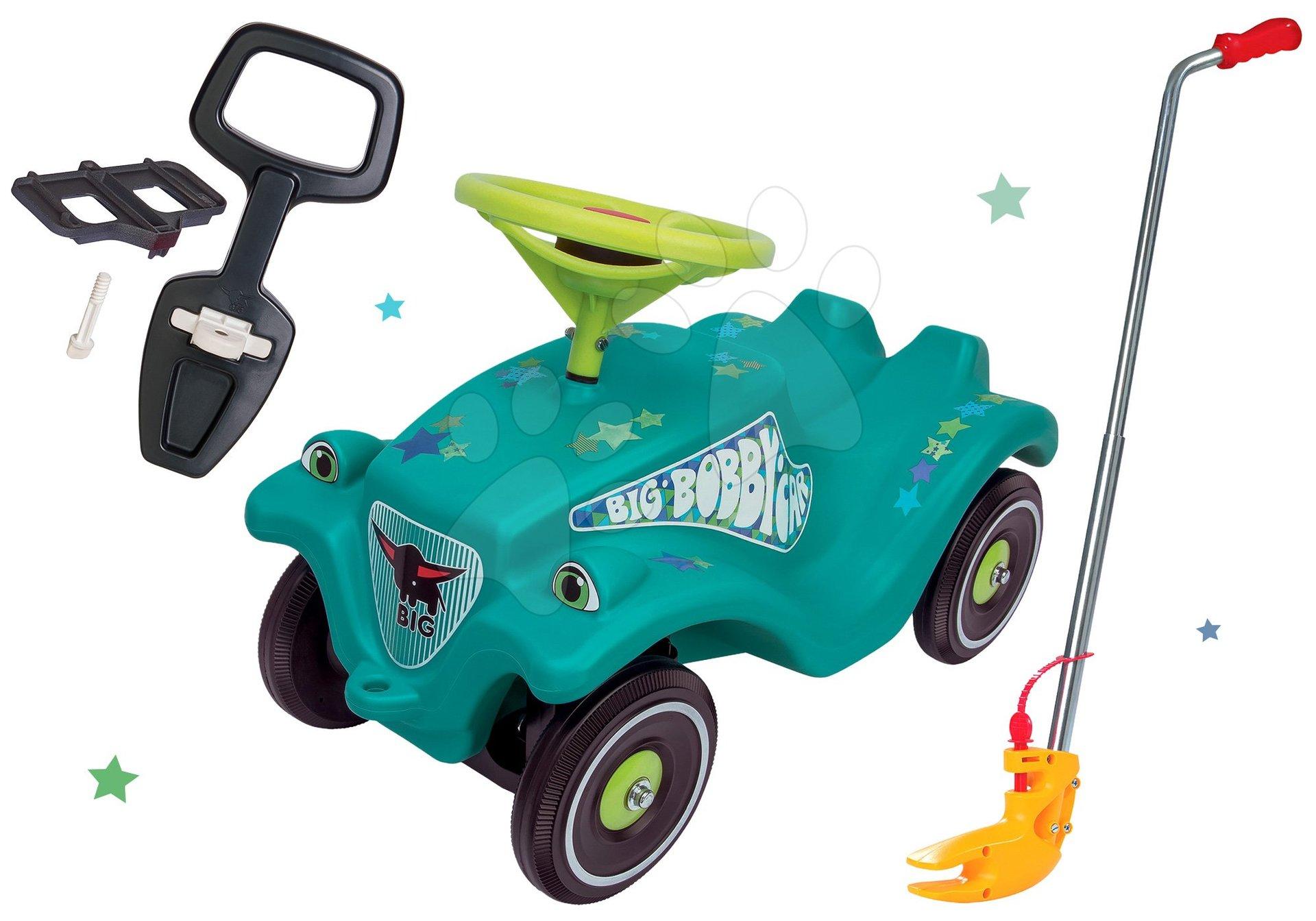 Set odrážadlo autíčko Little Star BIG Bobby Car Classic tyrkysové a tyč na ovládanie s opierkou a držiakom od 12 mes