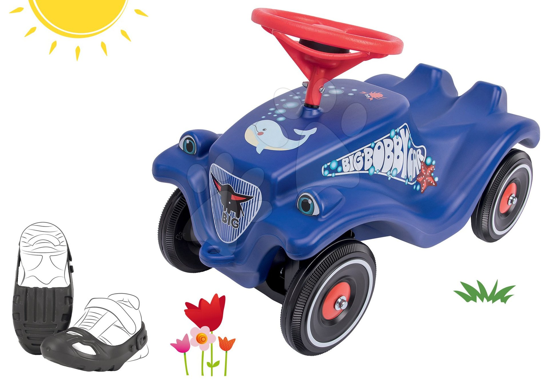 BIG set odrážadlo auto Ocean Bobby Car Classic modré a ochranné návleky na topánky 56109-2