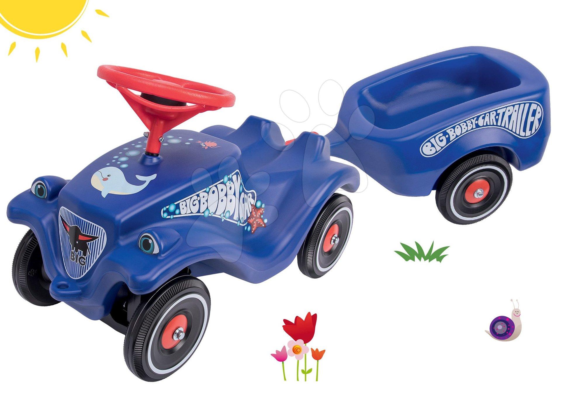 BIG set odrážedlo auto Ocean Bobby Car Classic modré a přívěsný vozík 56109-3