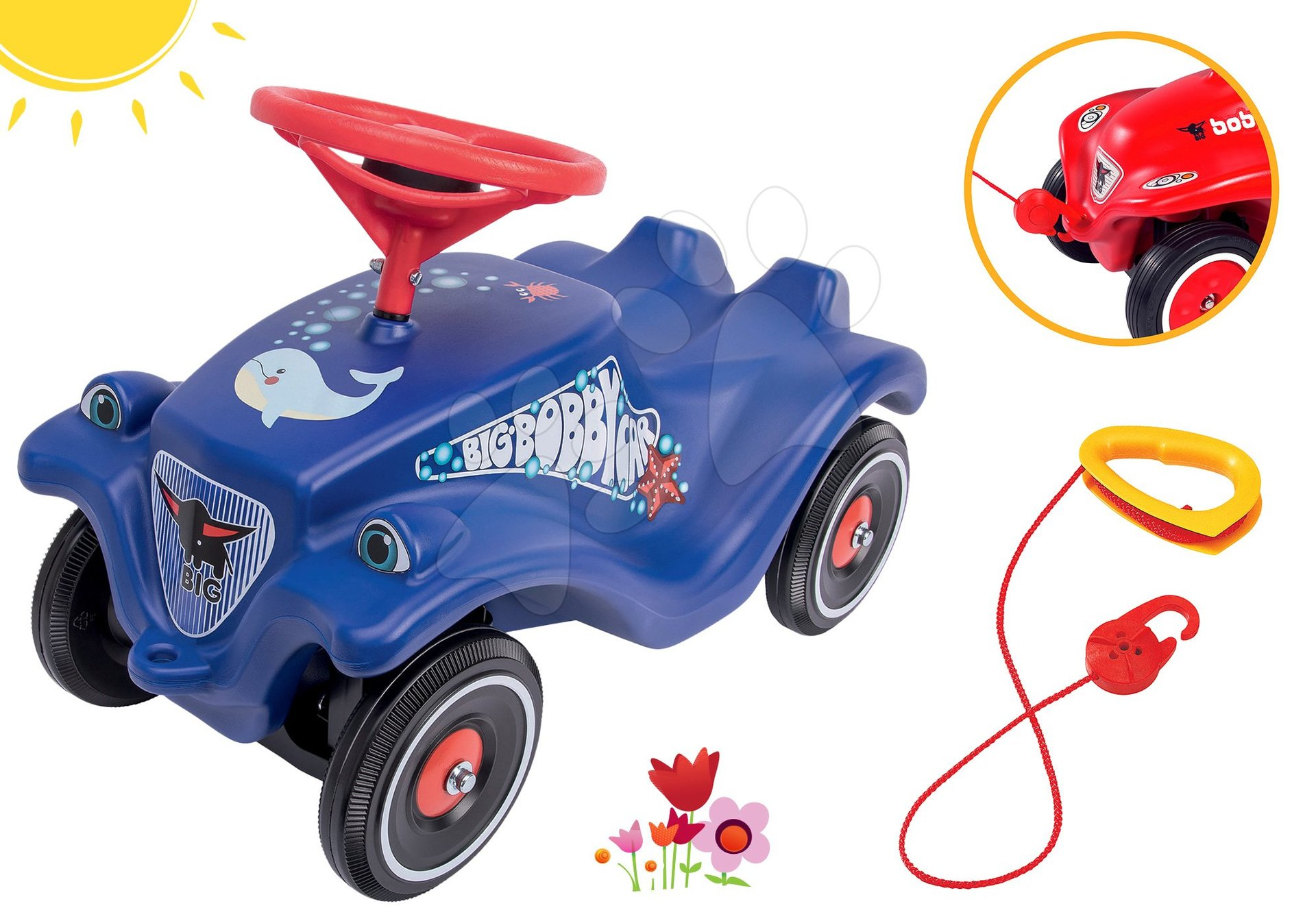 BIG set odrážadlo auto Ocean Bobby Car Classic modré a ťažné lano ako darček 56109-4