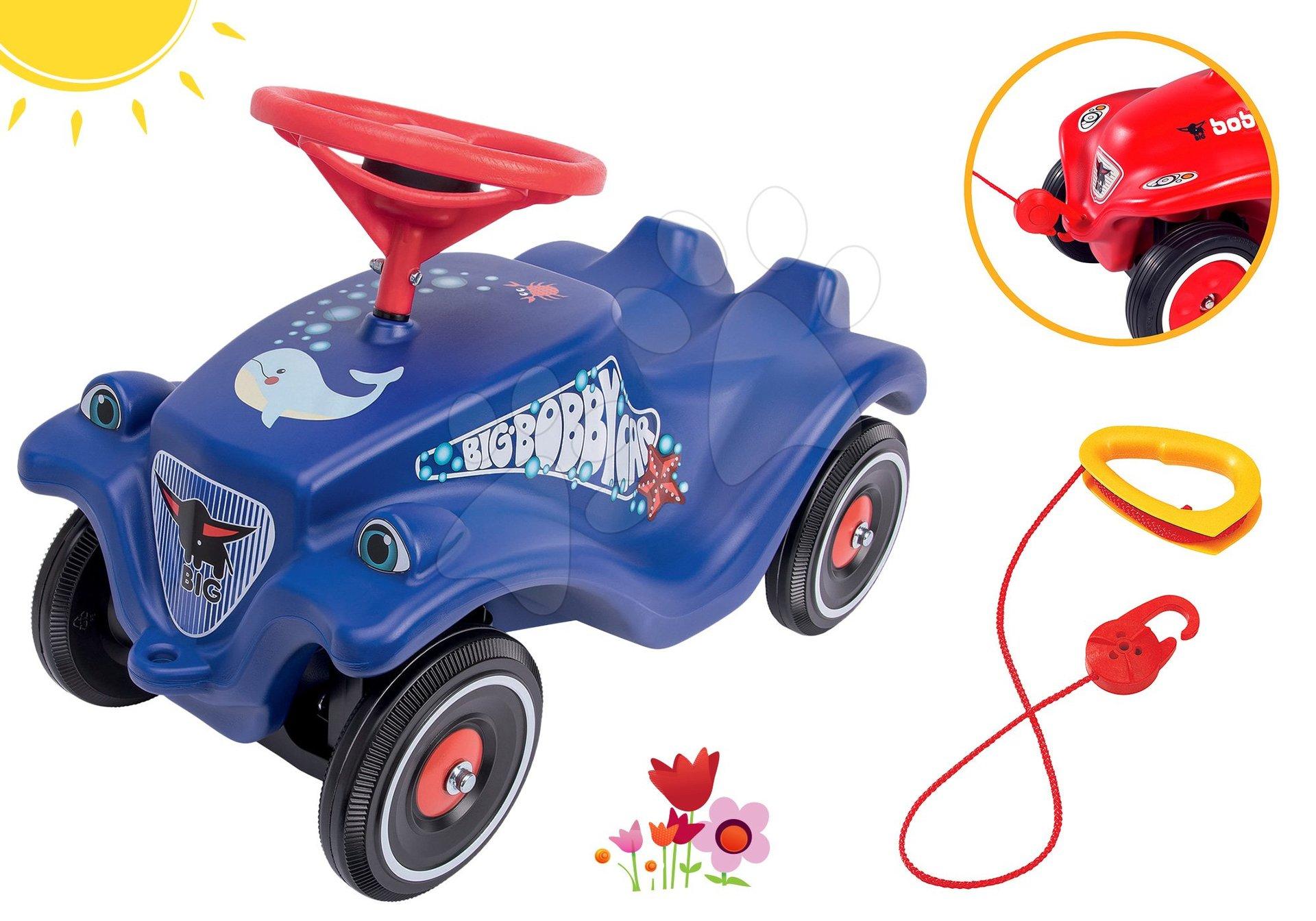 BIG set odrážedlo auto Ocean Bobby Car Classic modré a tažné lano s hákem jako dárek 56109-4