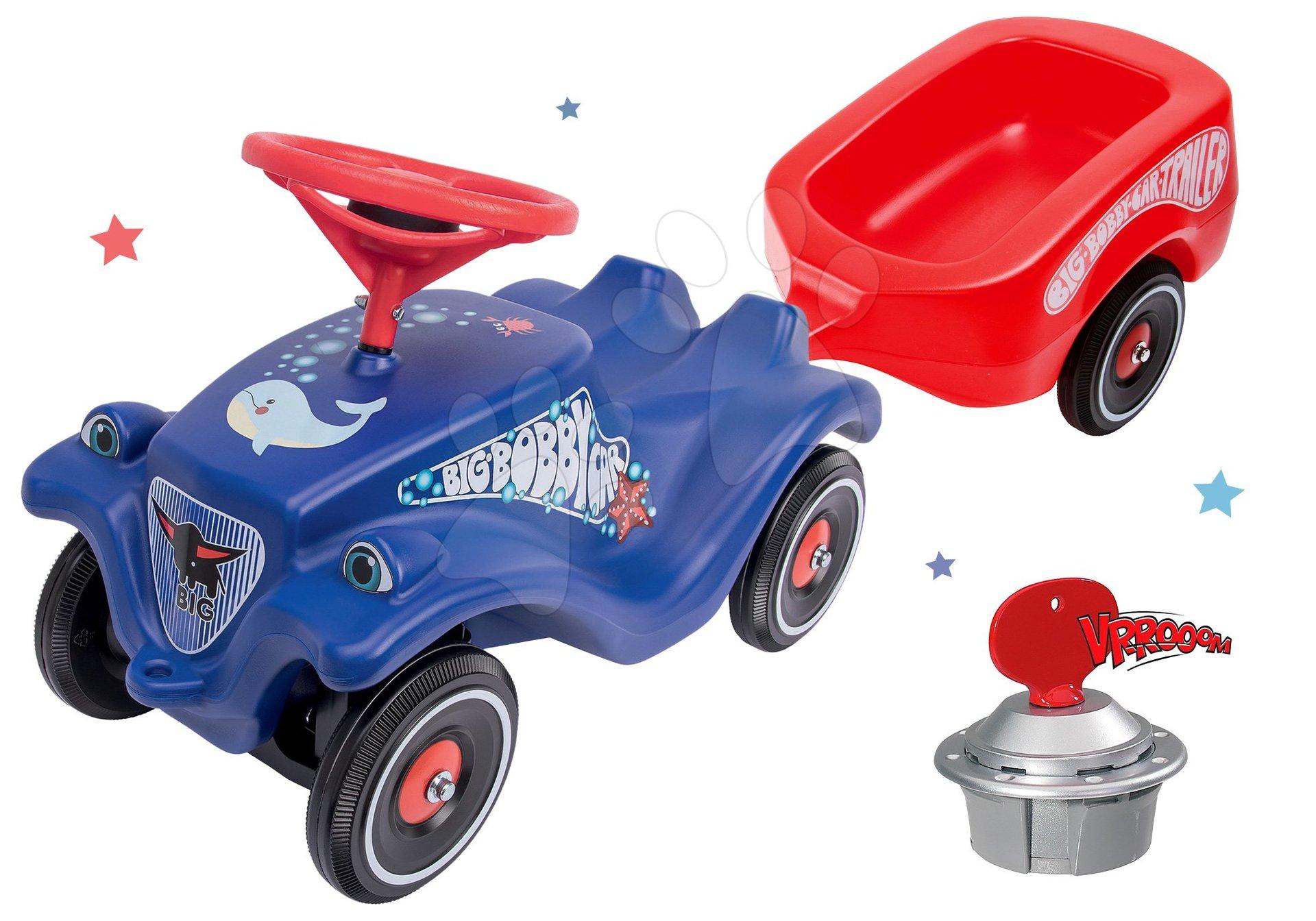 Set odrážadlo auto Ocean BIG Bobby Car Classic modré s prívesným vozíkom a štartérom od 12 mes