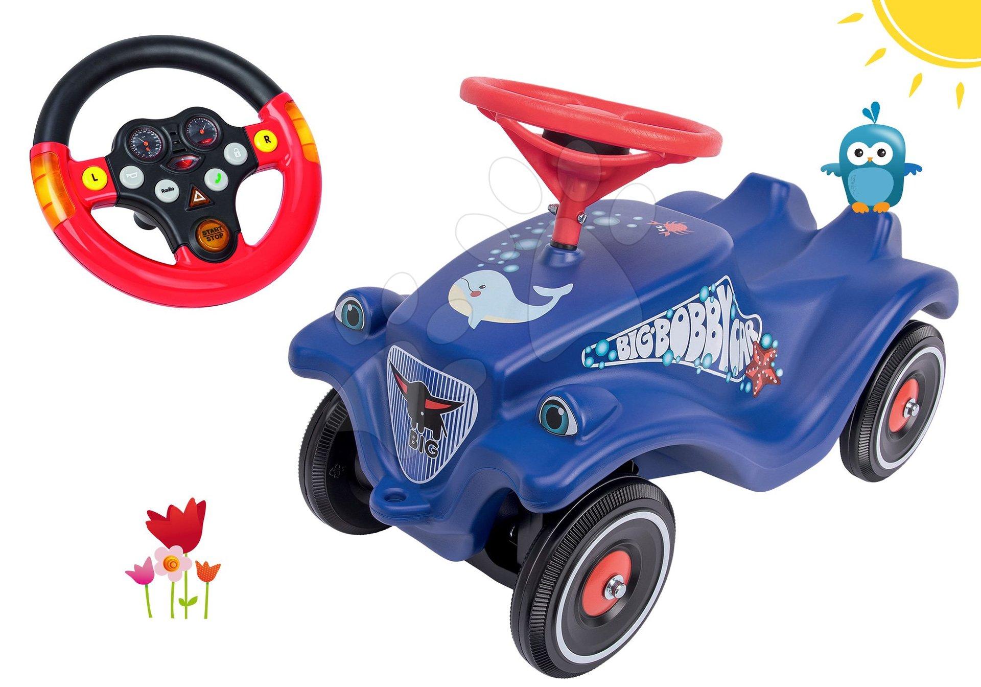 BIG set odrážedlo auto Ocean Bobby Car Classic modré a interaktivní volant se zvukem a světlem 56109-6