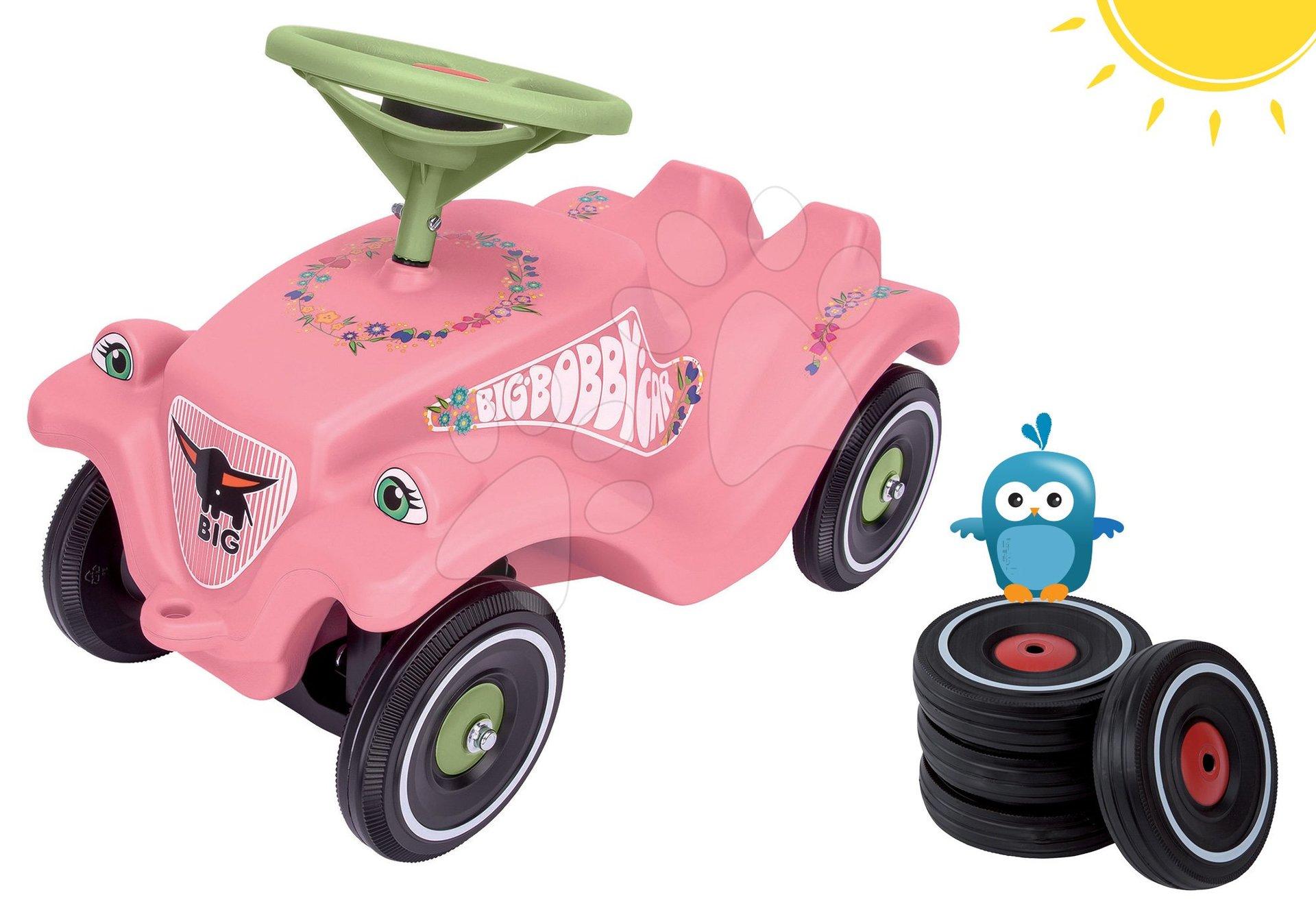 BIG set odrážadlo Flower Bobby Classic Car s klaksónom a náhradné kolesá s tichým chodom 56110-1