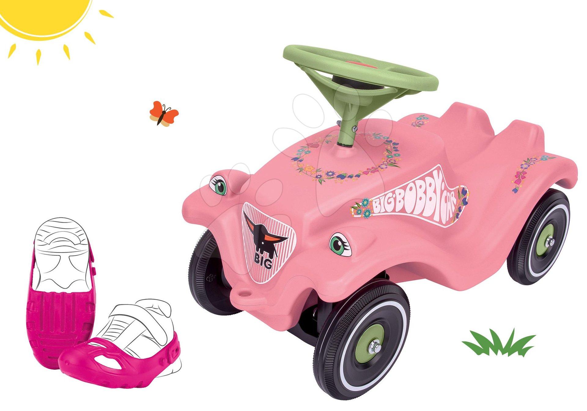 BIG set odrážadlo auto Flower Bobby Car Classic ružové a ochranné návleky na topánky 56110-2