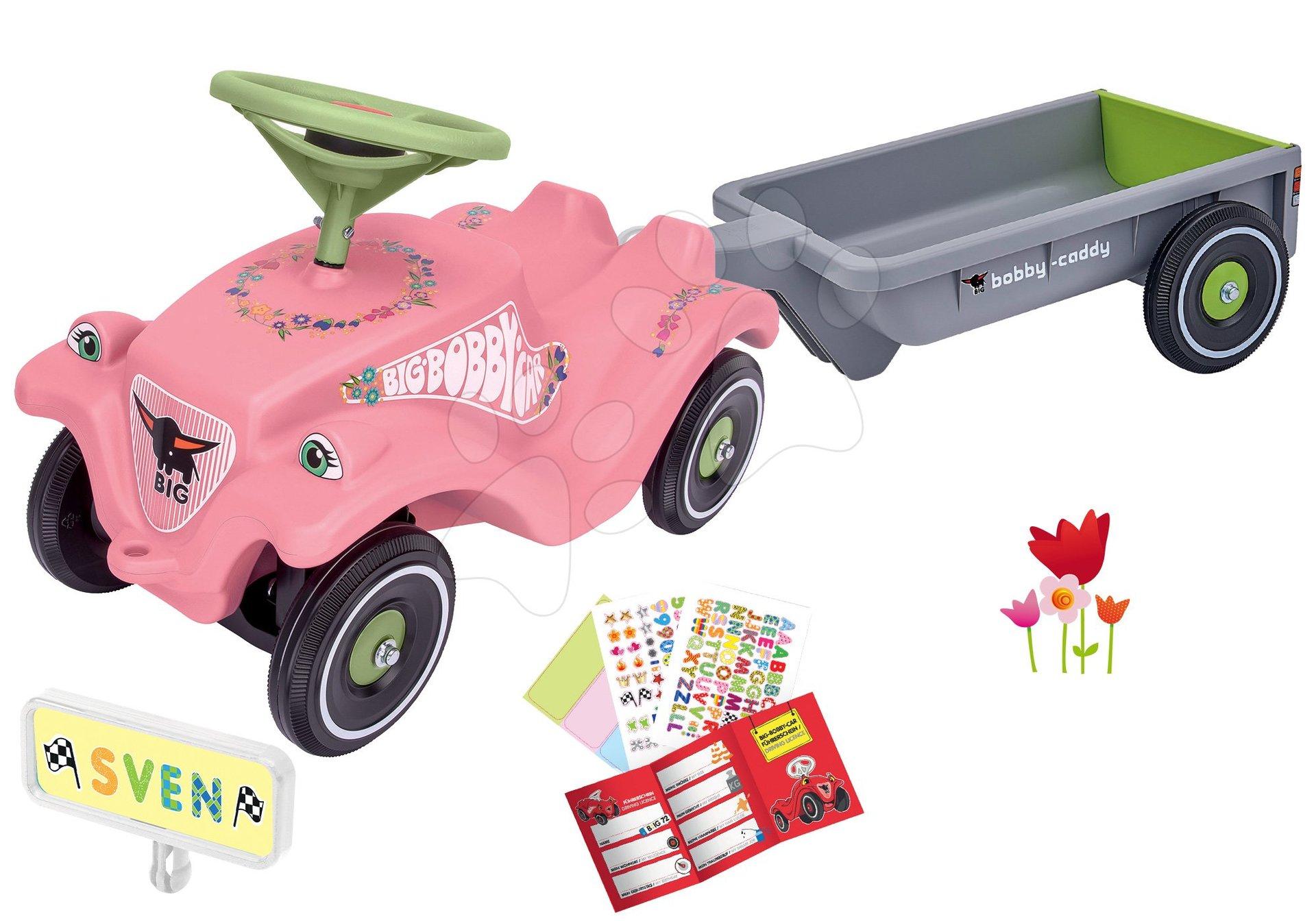 Set odrážadlo auto Flower BIG Bobby Car Classic ružové a prívesný vozík s ŠPZ-kou od 12 mes
