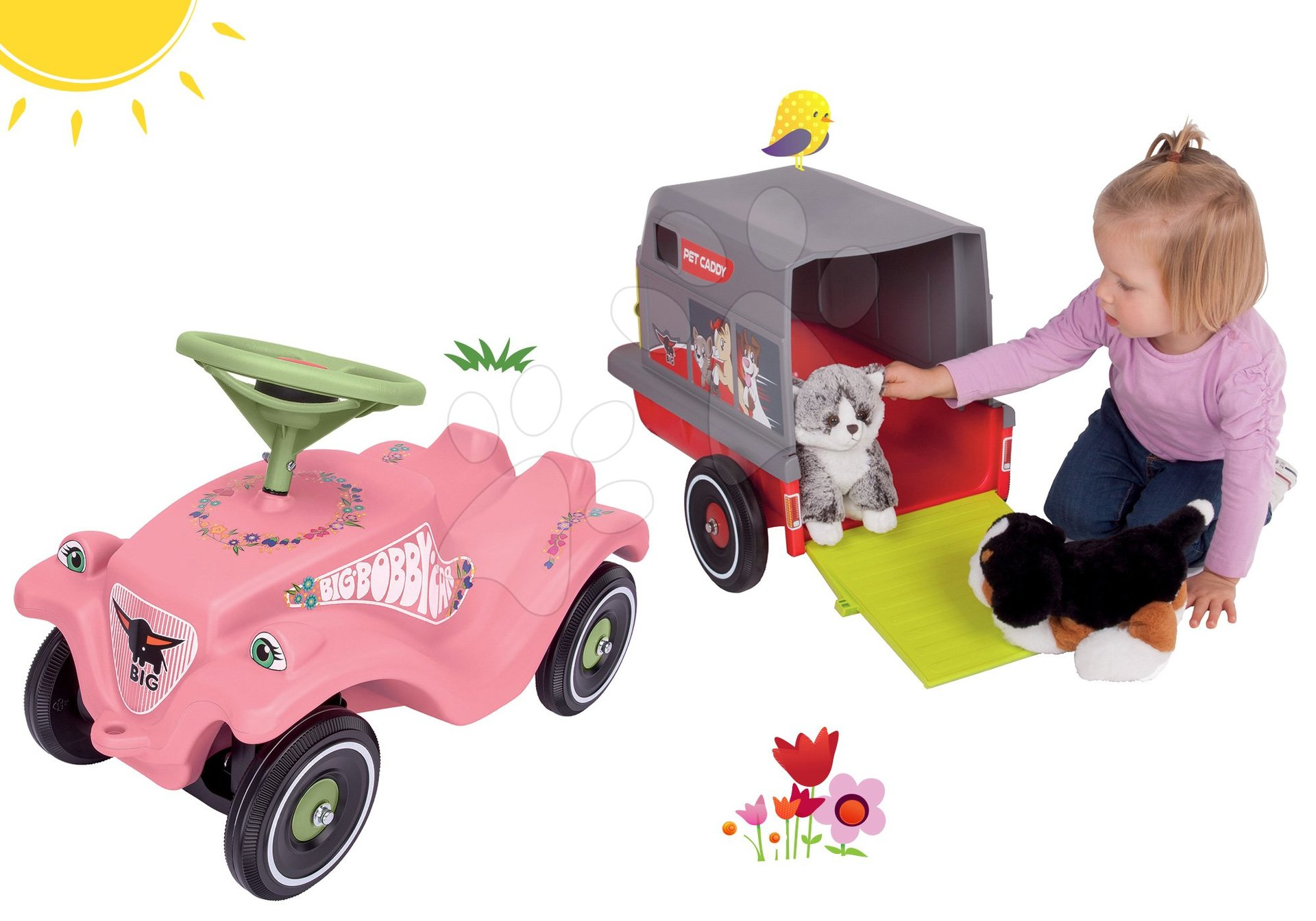 Set odrážadlo auto Flower BIG Bobby Car Classic ružové a príves pre zvieratká Bobby Pet Caddy od 12 mes
