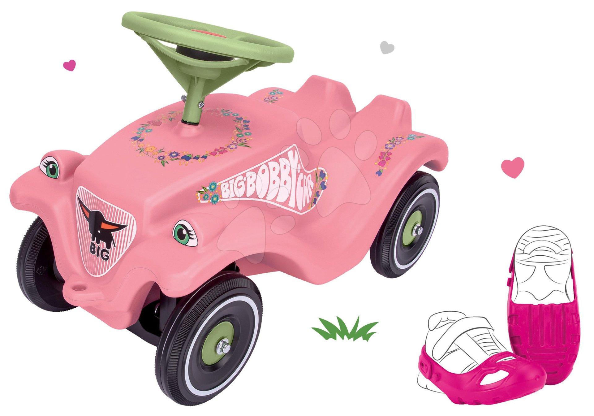 Set hraček odrážedlo Bobby Classic Girlie BIG s klaksonem a ochranné návleky na boty