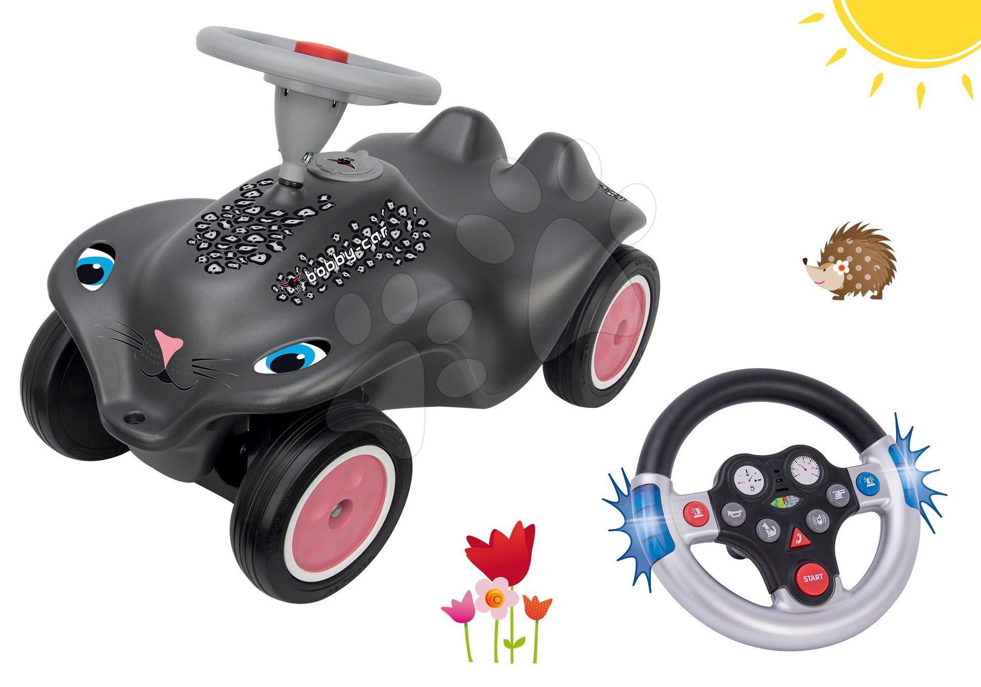 Set odrážadlo auto Panther BIG New Bobby Car čierne a interaktívny volant so zvukom od 12 mes