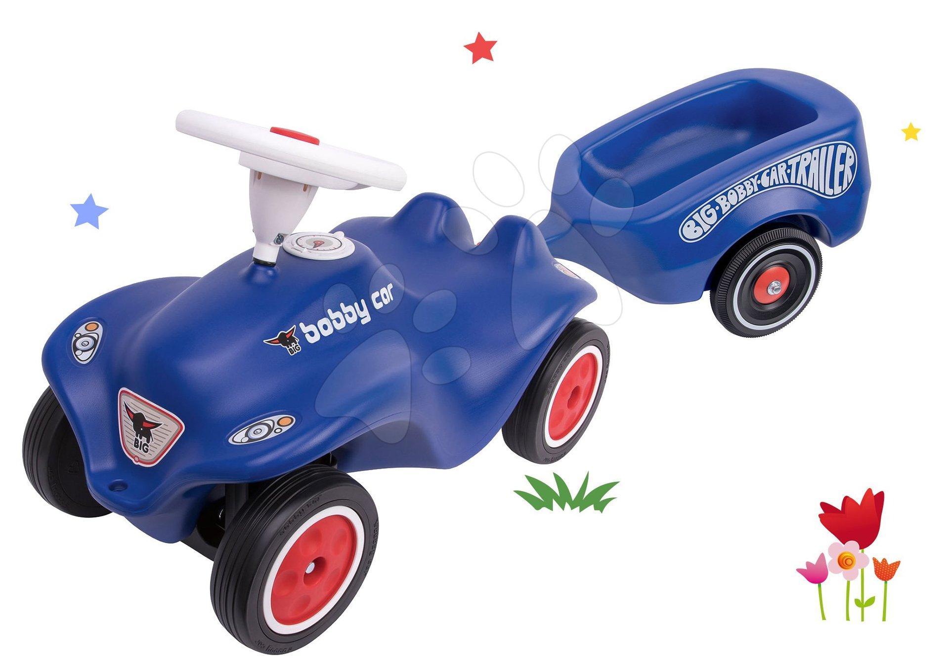 Set odrážedlo autíčko Royal Blue BIG New Bobby Car modré a přívěsný vozík od 12 měsíců