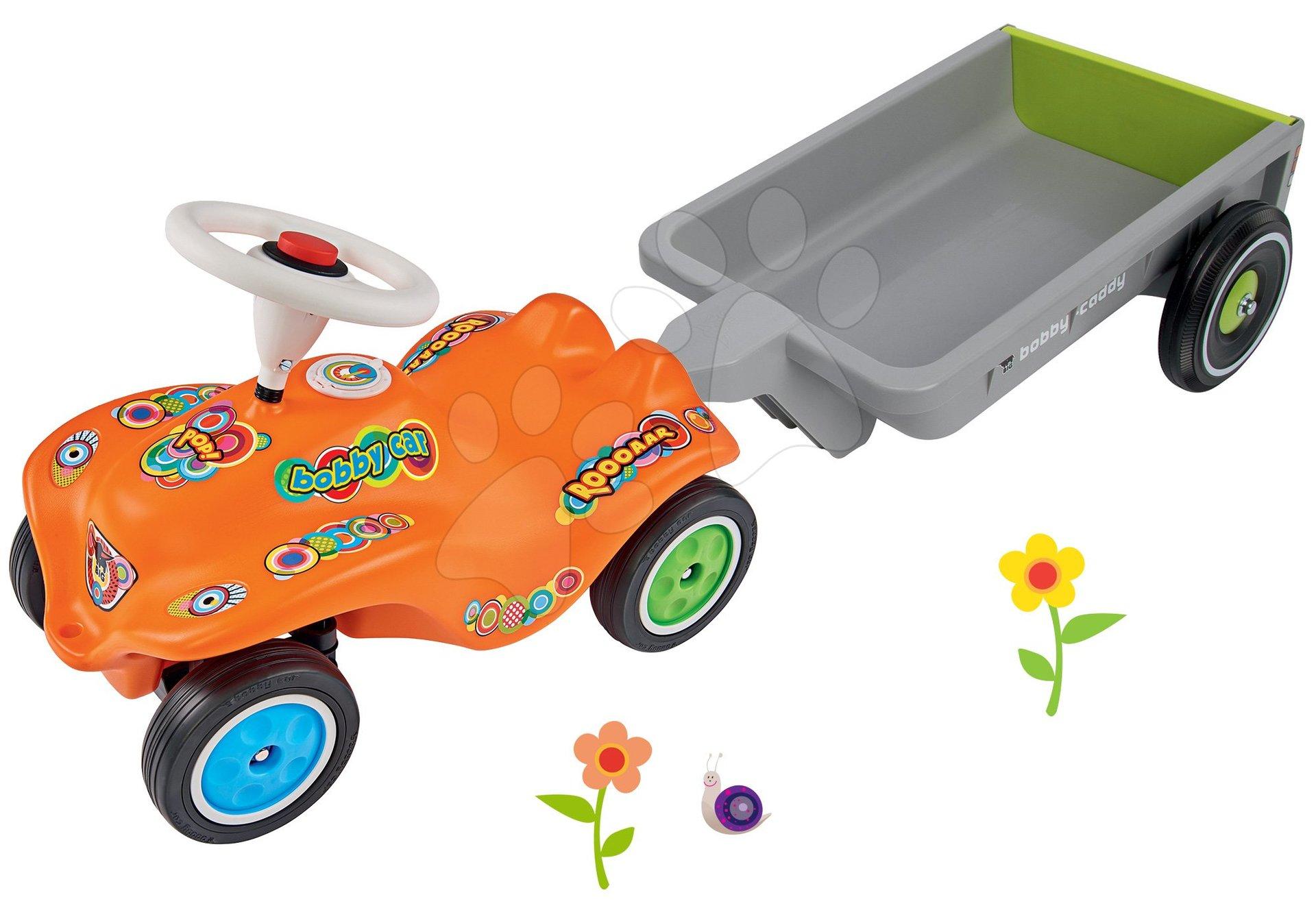 Set odrážedlo auto Retro-Look New Bobby Car BIG oranžové a přívěsný vozík hranatý od 12 měsíců